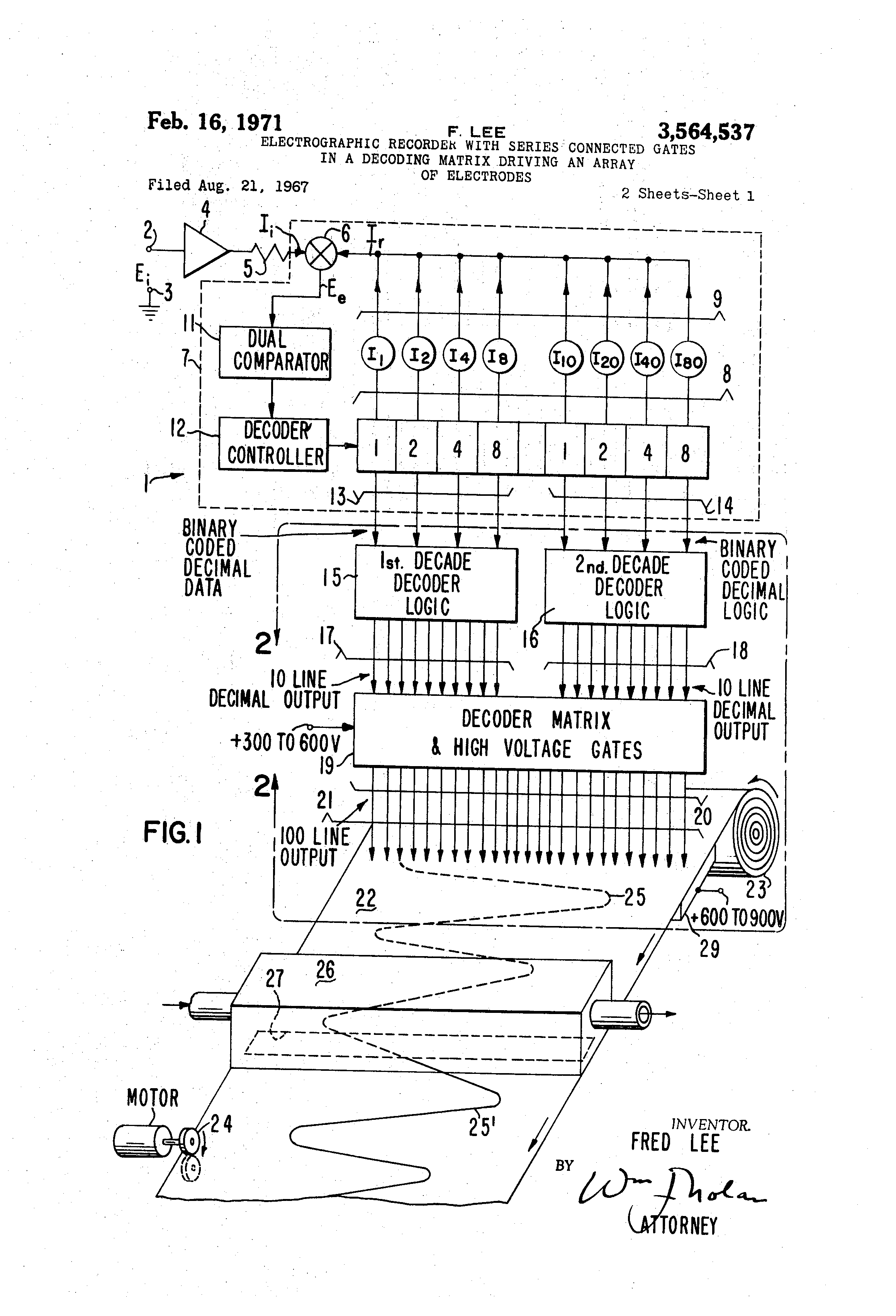 Patent Us3564537 Electrographic Recorder With Series Connected Binary Coded Decimal Converter Negative Logic Drawing
