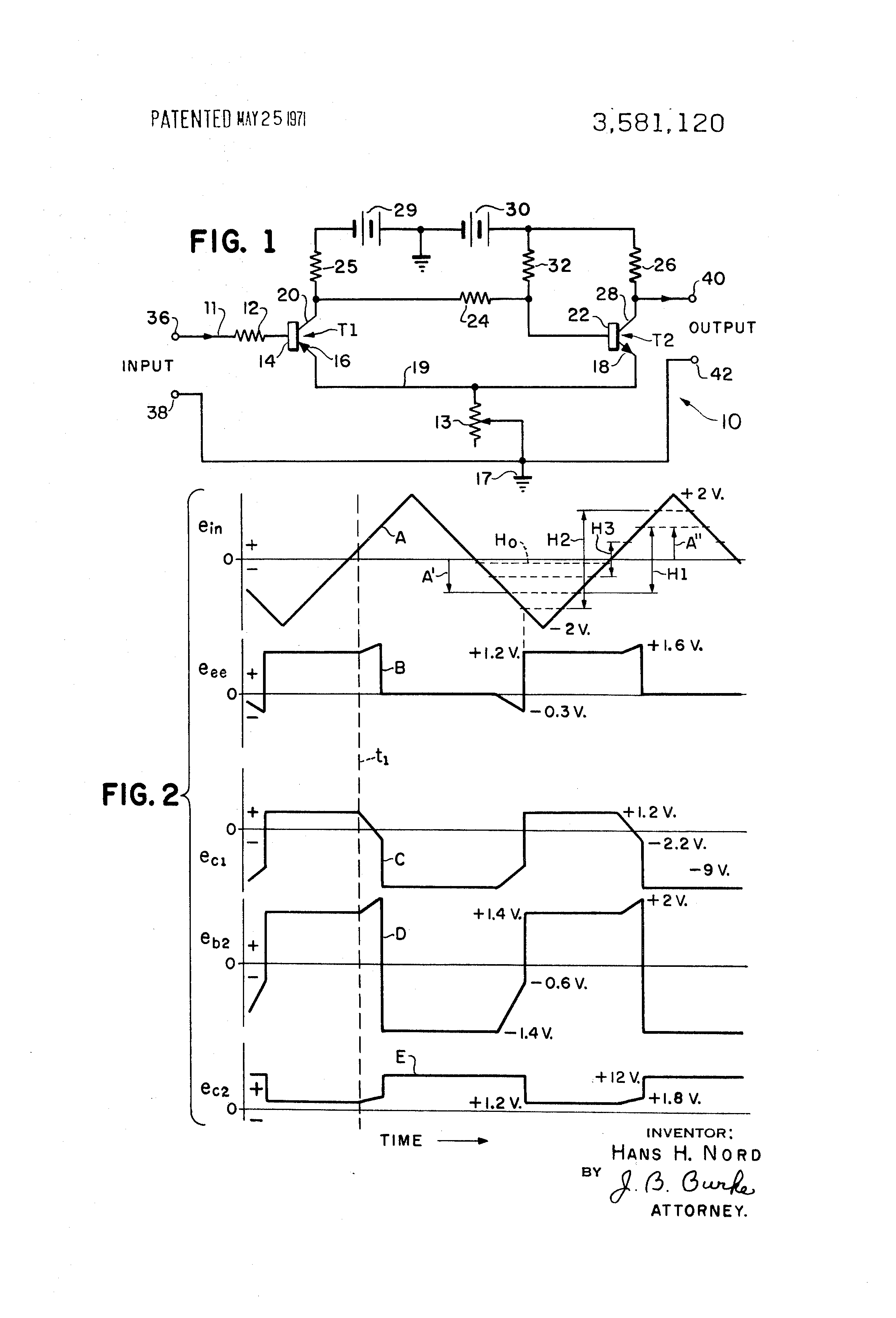 Patent Us3581120 Schmitt Trigger Circuit With Variable Hysteresis Variableresistorcontrolled Regenerative Receiver Diagram Drawing