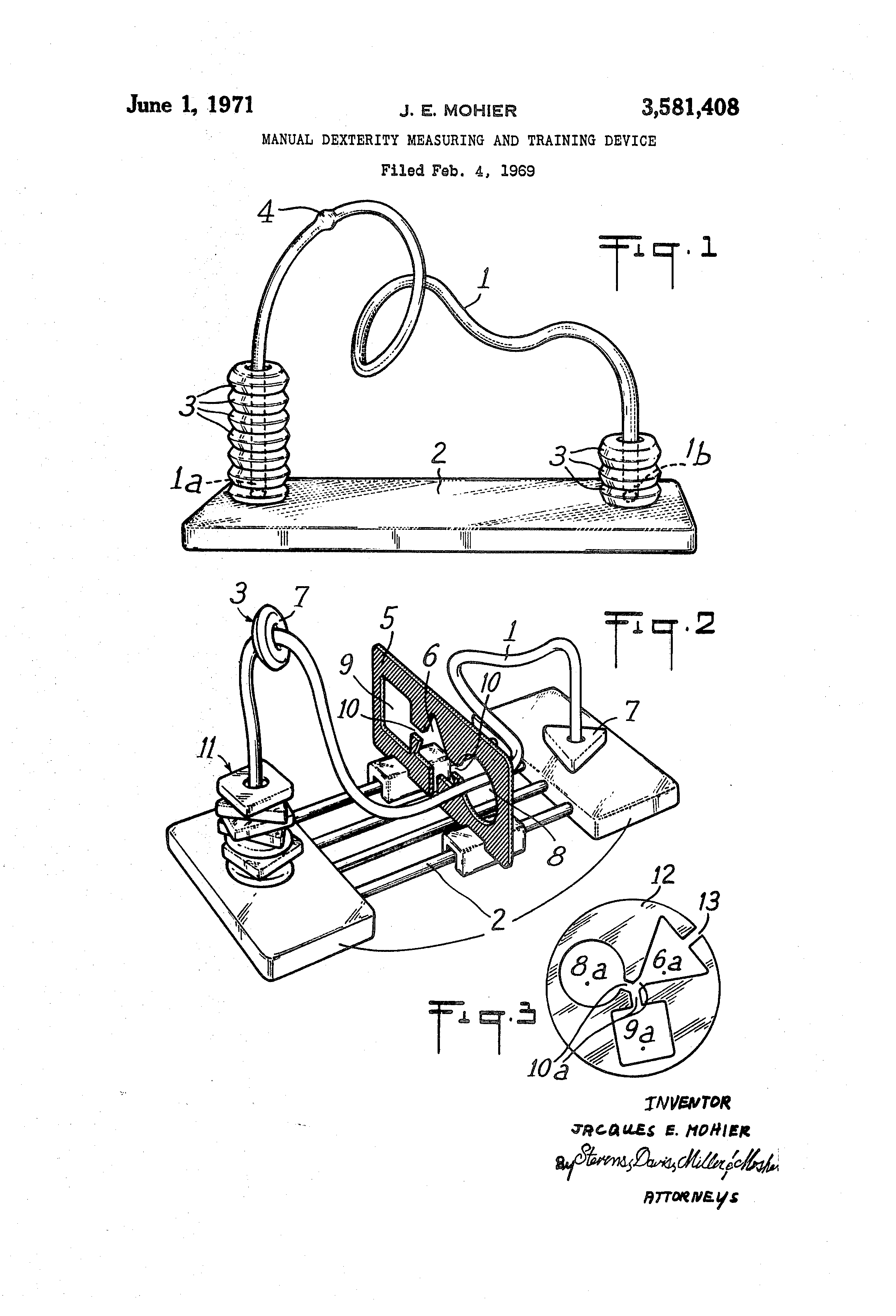 patent us3581408 - manual dexterity measuring and training device