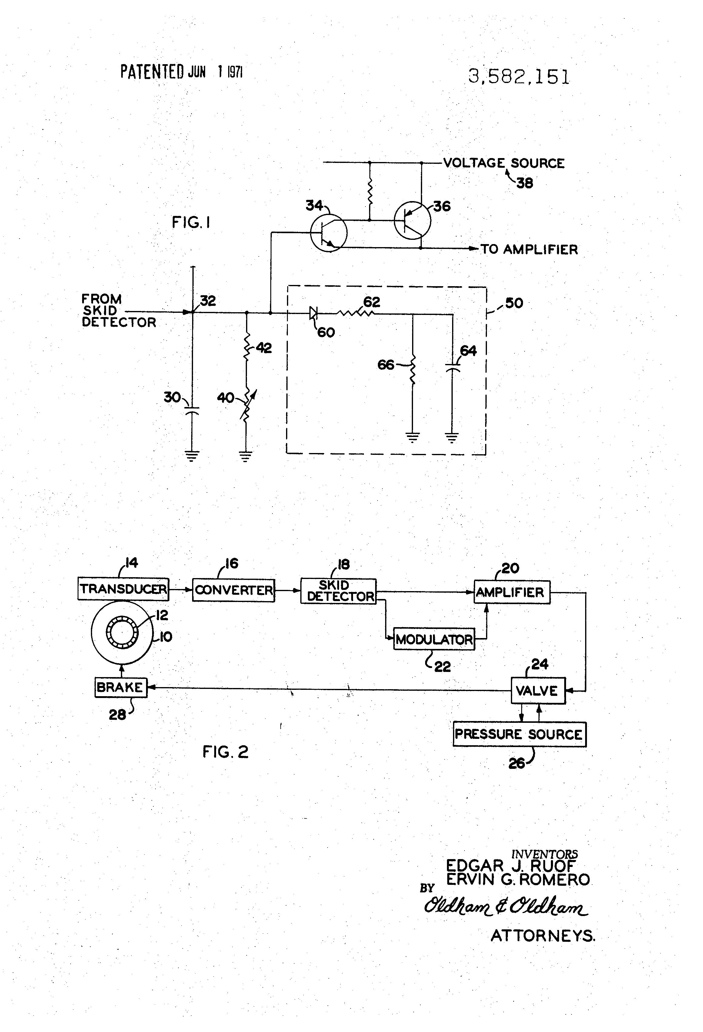 Brevet Us3582151 Antiskid Modulator Control Circuit Google Brevets Schematic Diagram Patent Drawing