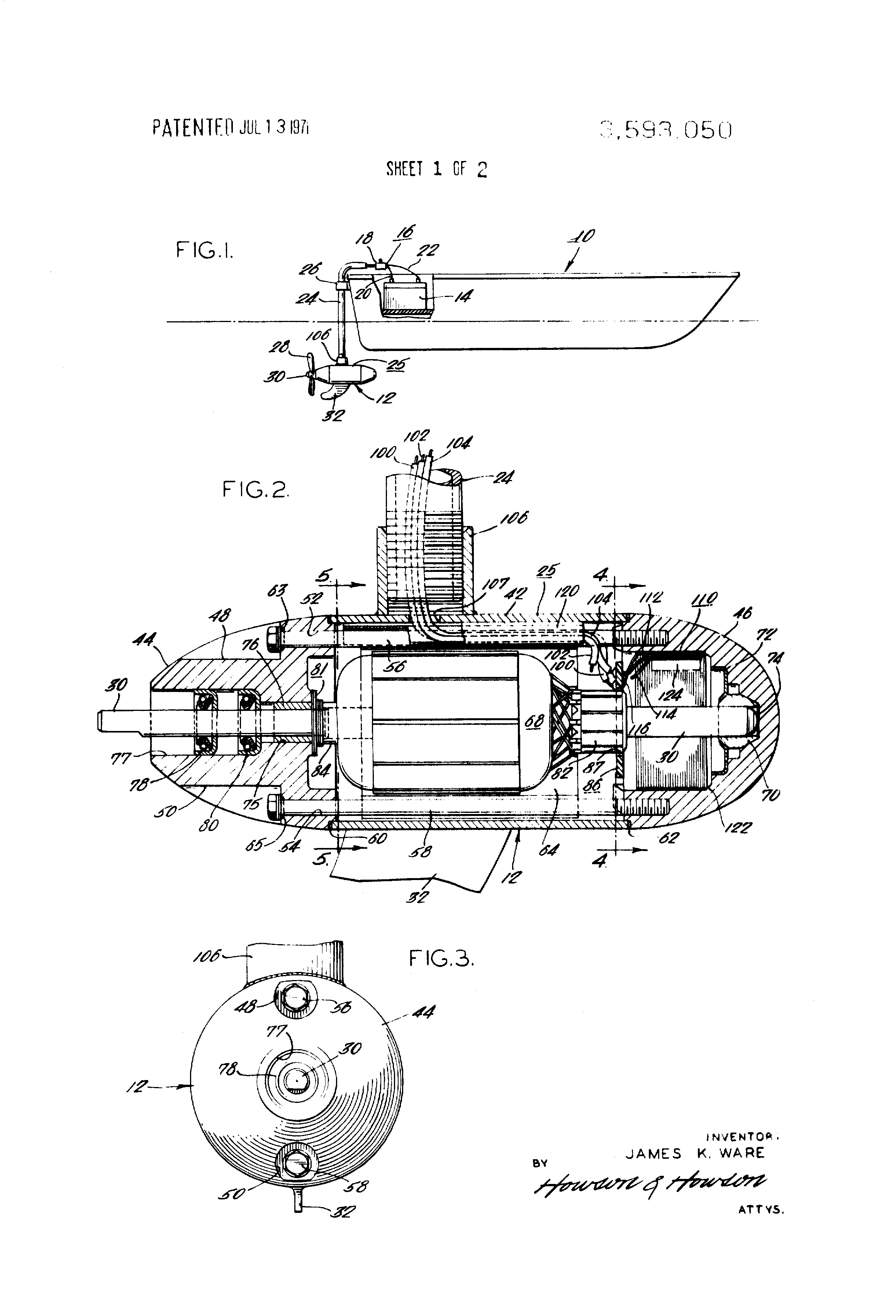 patent us3593050 - trolling motor