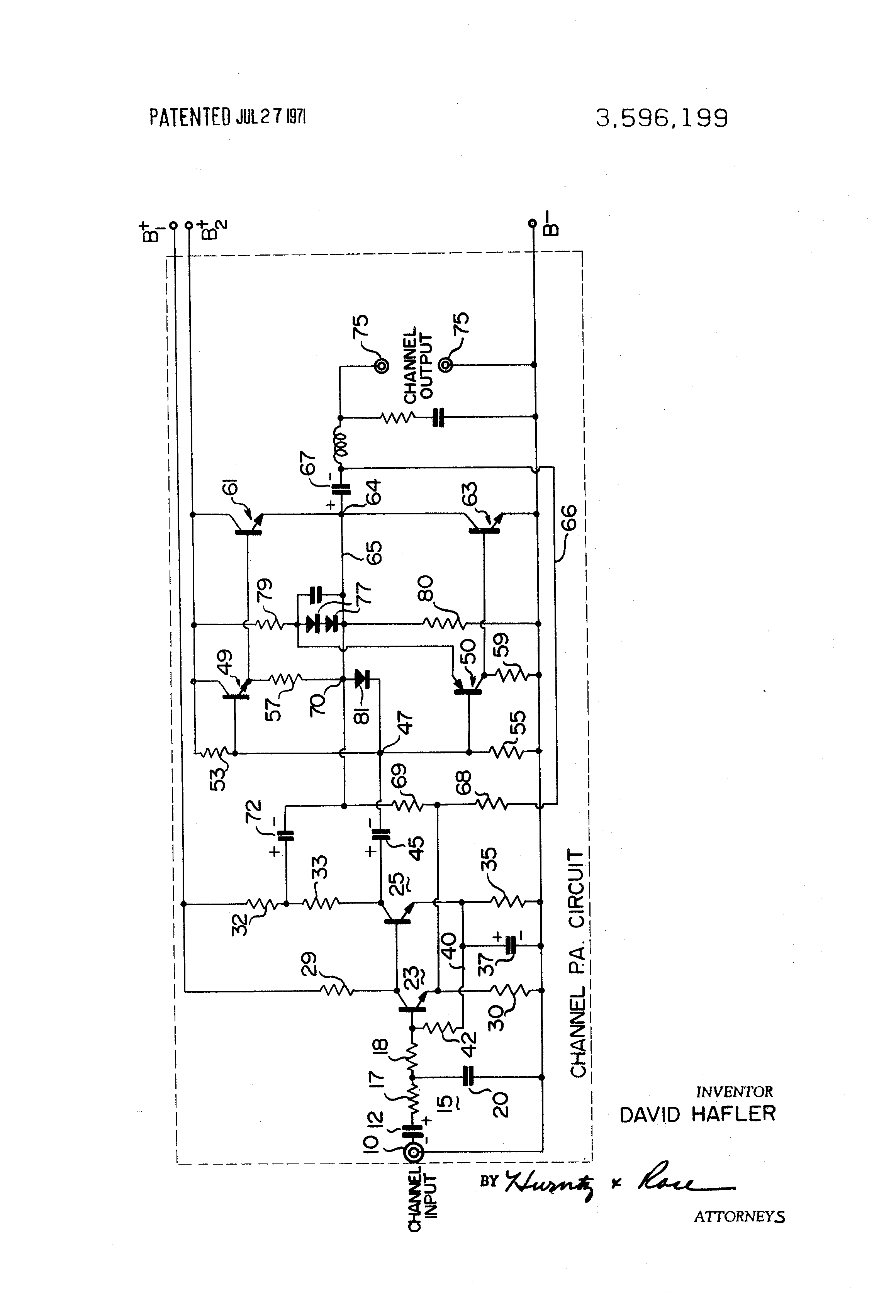 Patent Us3596199 Transistorized Amplifiers And Protective Circuits Amplifier Circuit Electronic Diagram Drawing