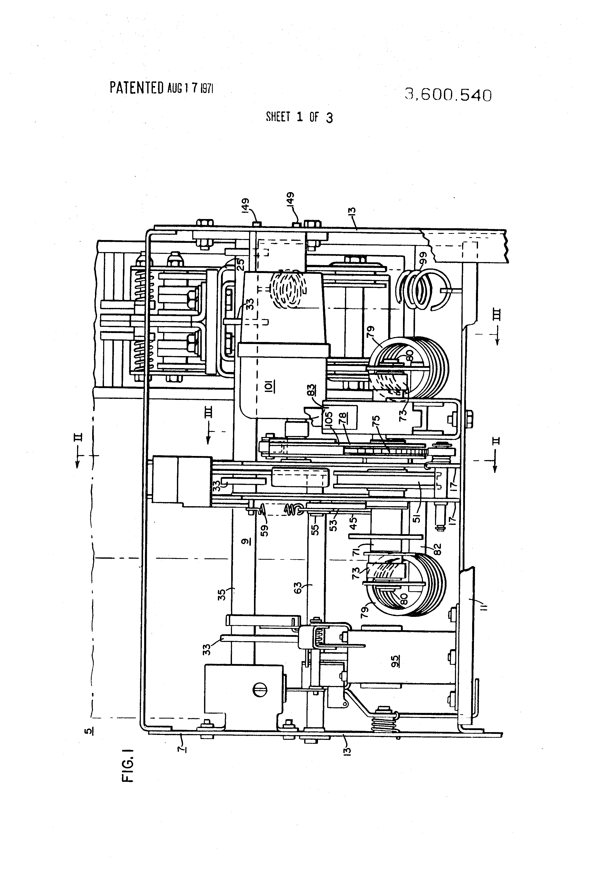 Patent us3600540 motor operated spring closing circuit for Motor operated circuit breaker