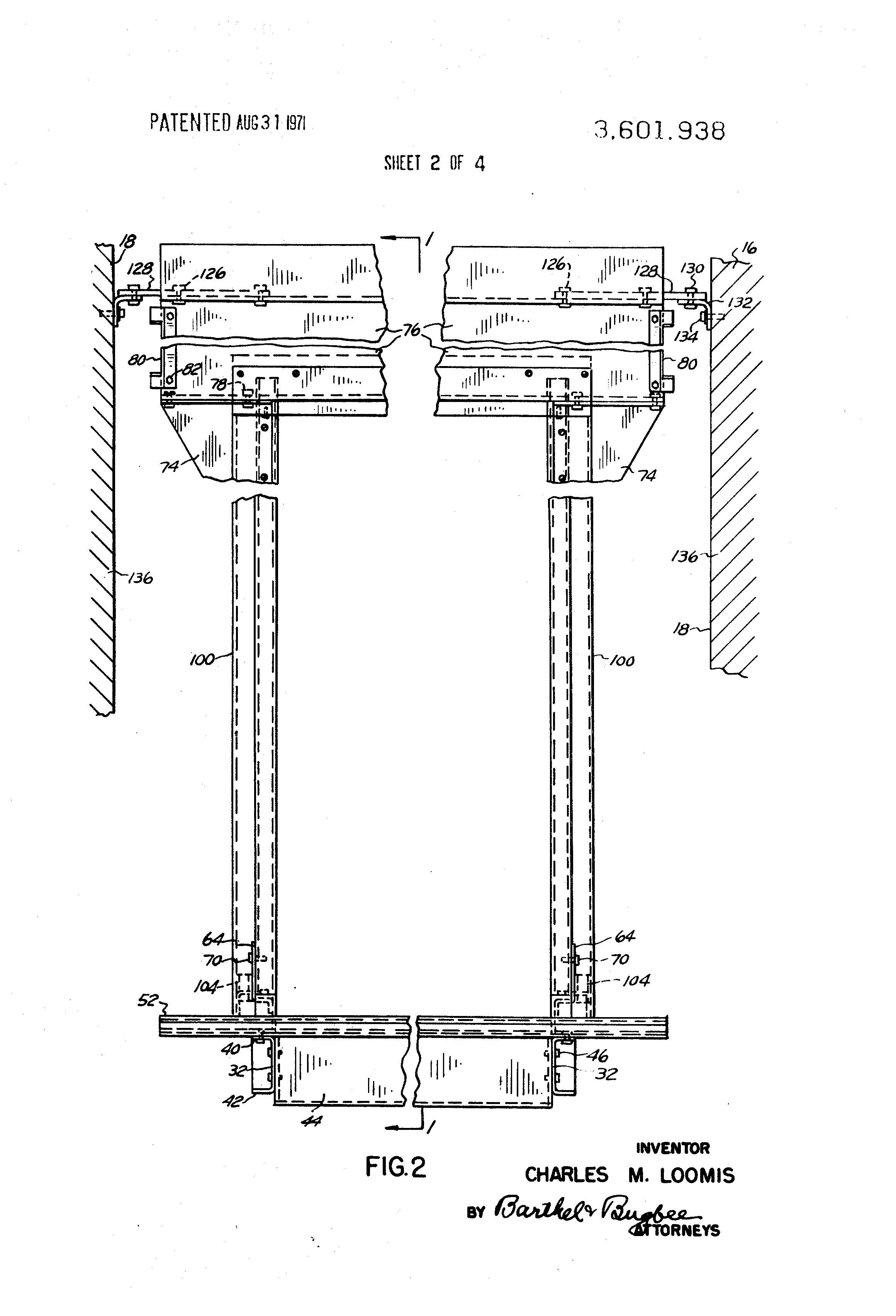 Patent Us3601938 Universal Elevator Shaft Entrance