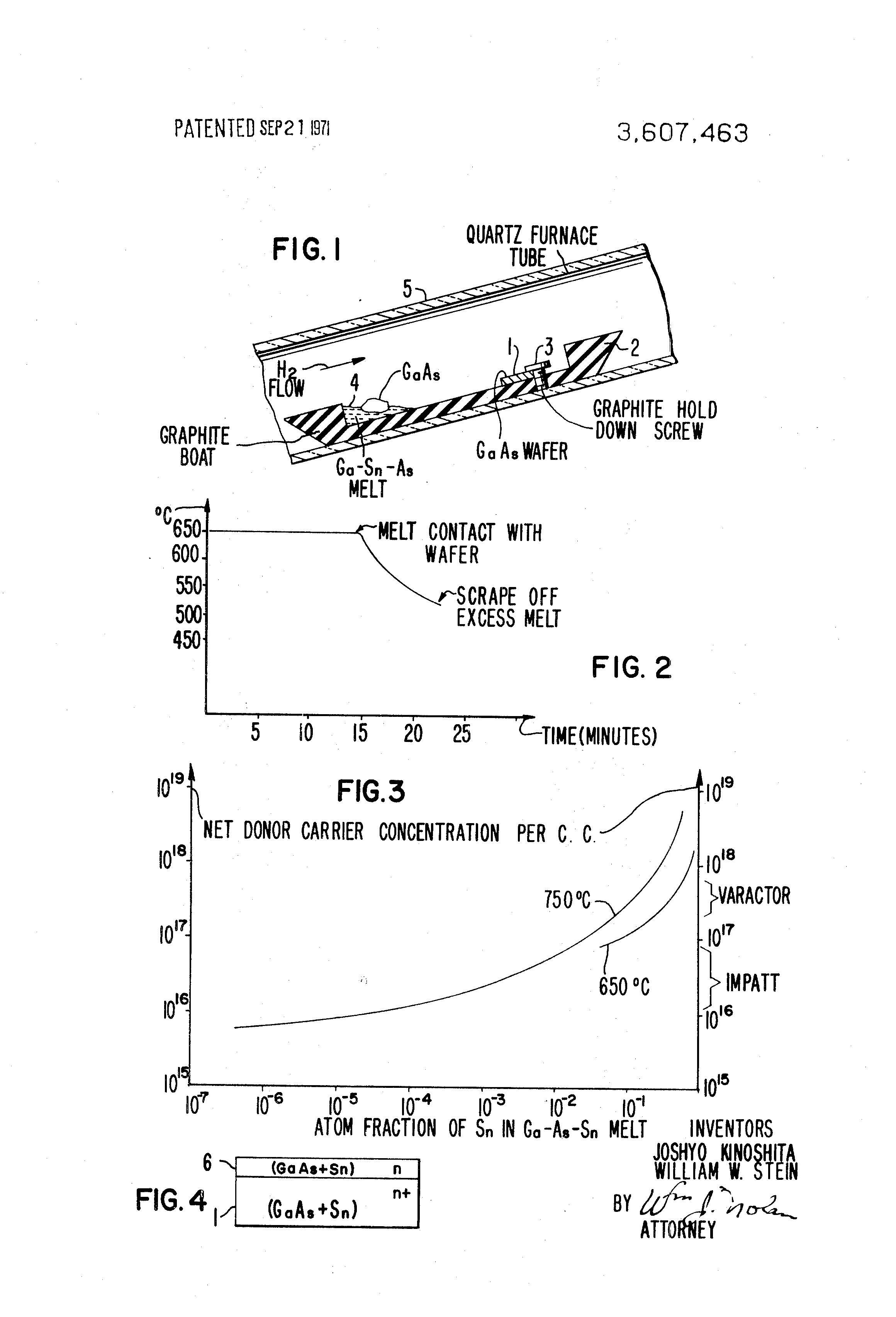 Patent Us3607463 Method For Growing Tin Doped N Type Epitaxial Gallium Arsenide Gaas Doping Process Drawing