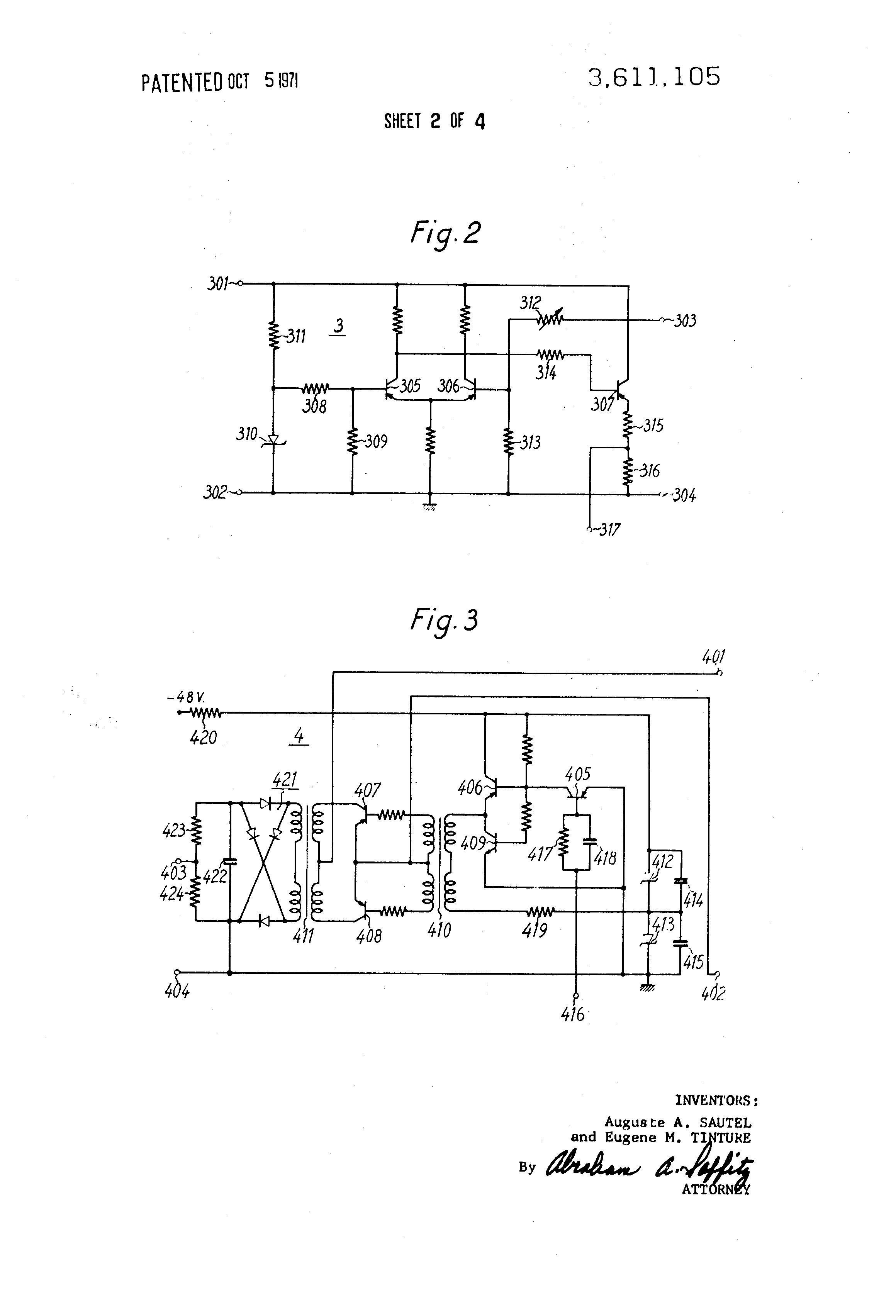 Brevet Us3611105 Stabilized Output Direct Current Voltage To Converter Patent Drawing