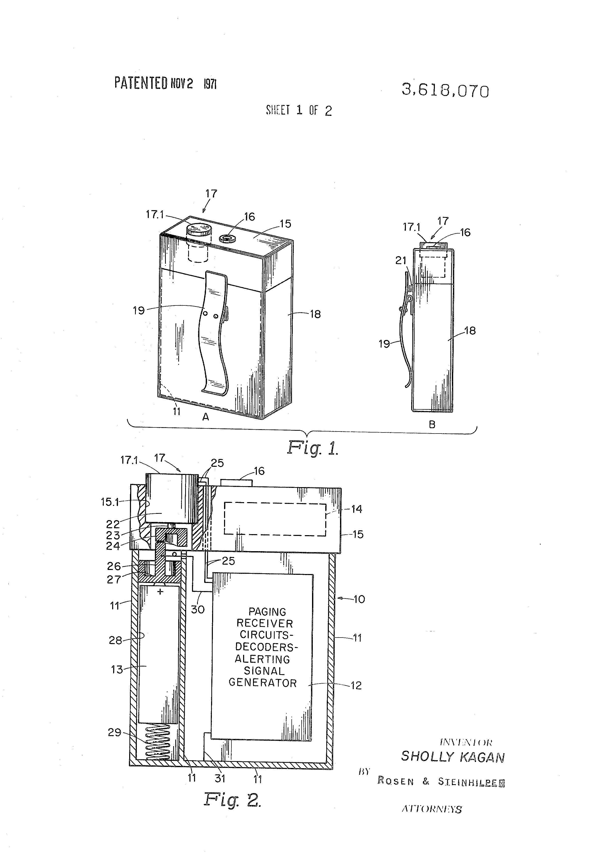 patent us3618070 vibratory alerting devices google. Black Bedroom Furniture Sets. Home Design Ideas