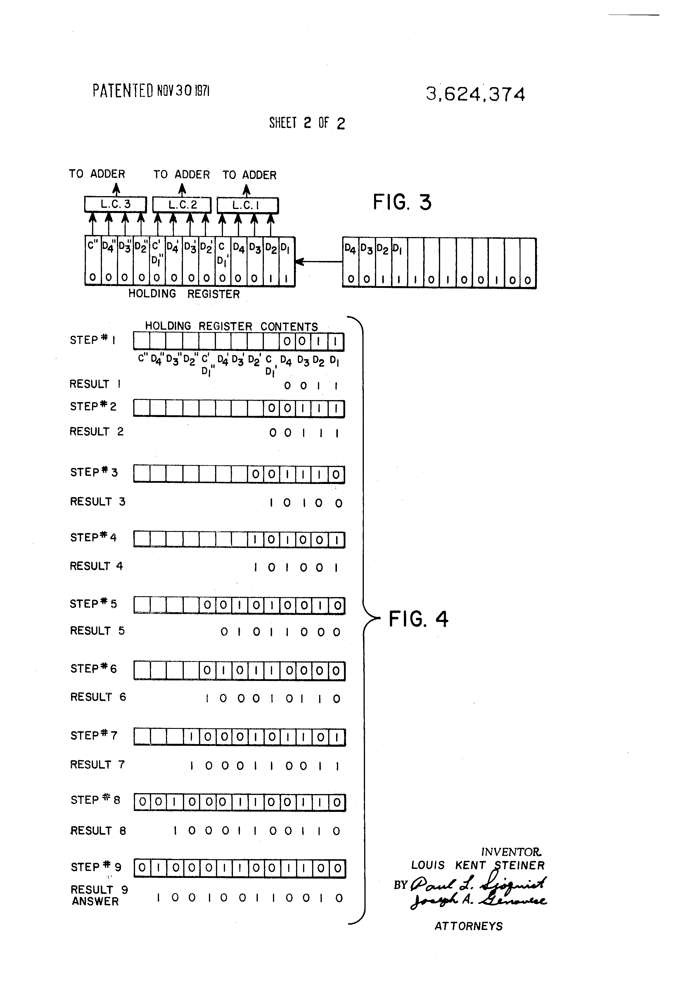 Brevet Us3624374 Binary To Coded Decimal Converter Google Bcd Pictures Patent Drawing