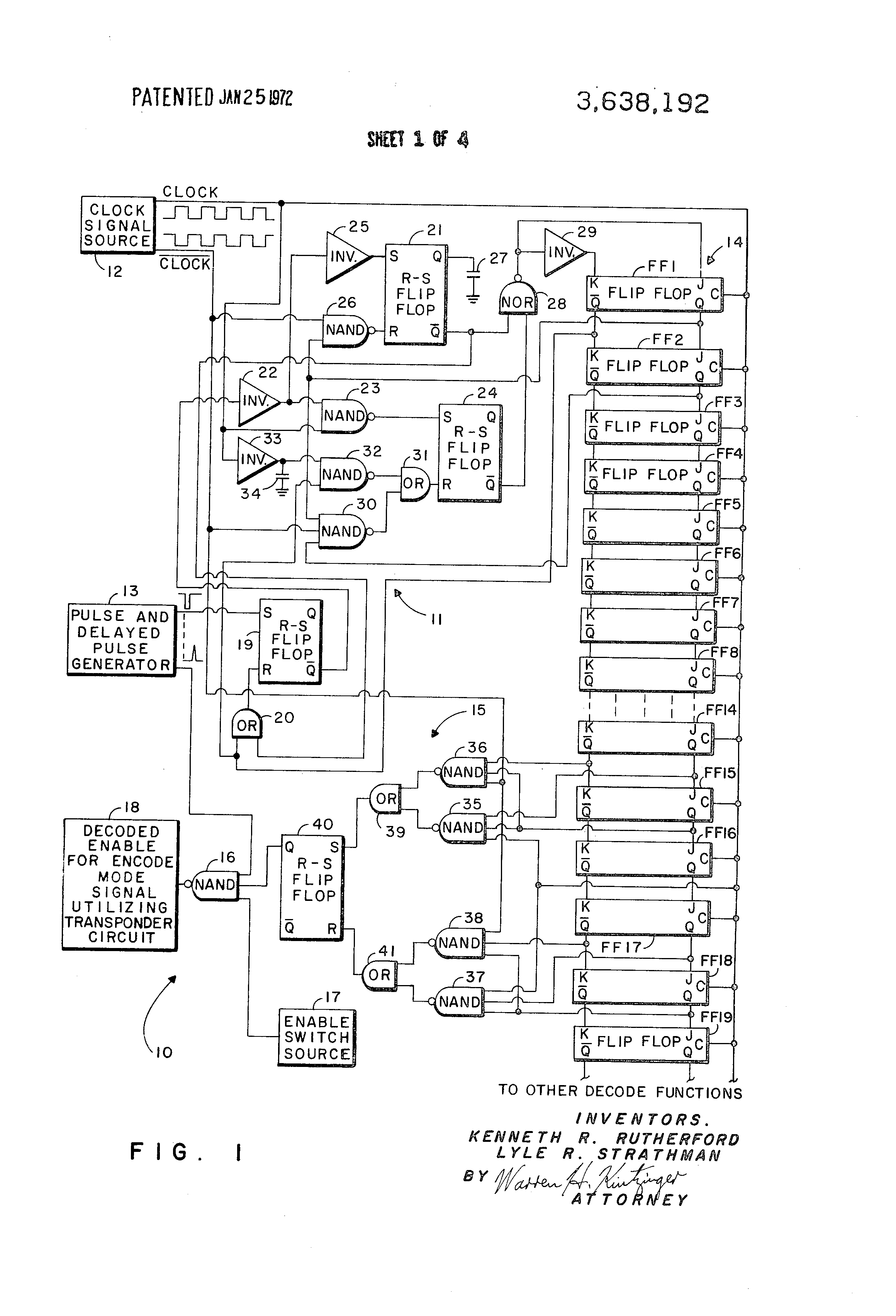 Patent Us3638192 Asynchronous Pulse Information Clock Phase Circuit Diagram With Decoder And Shift Register Drawing