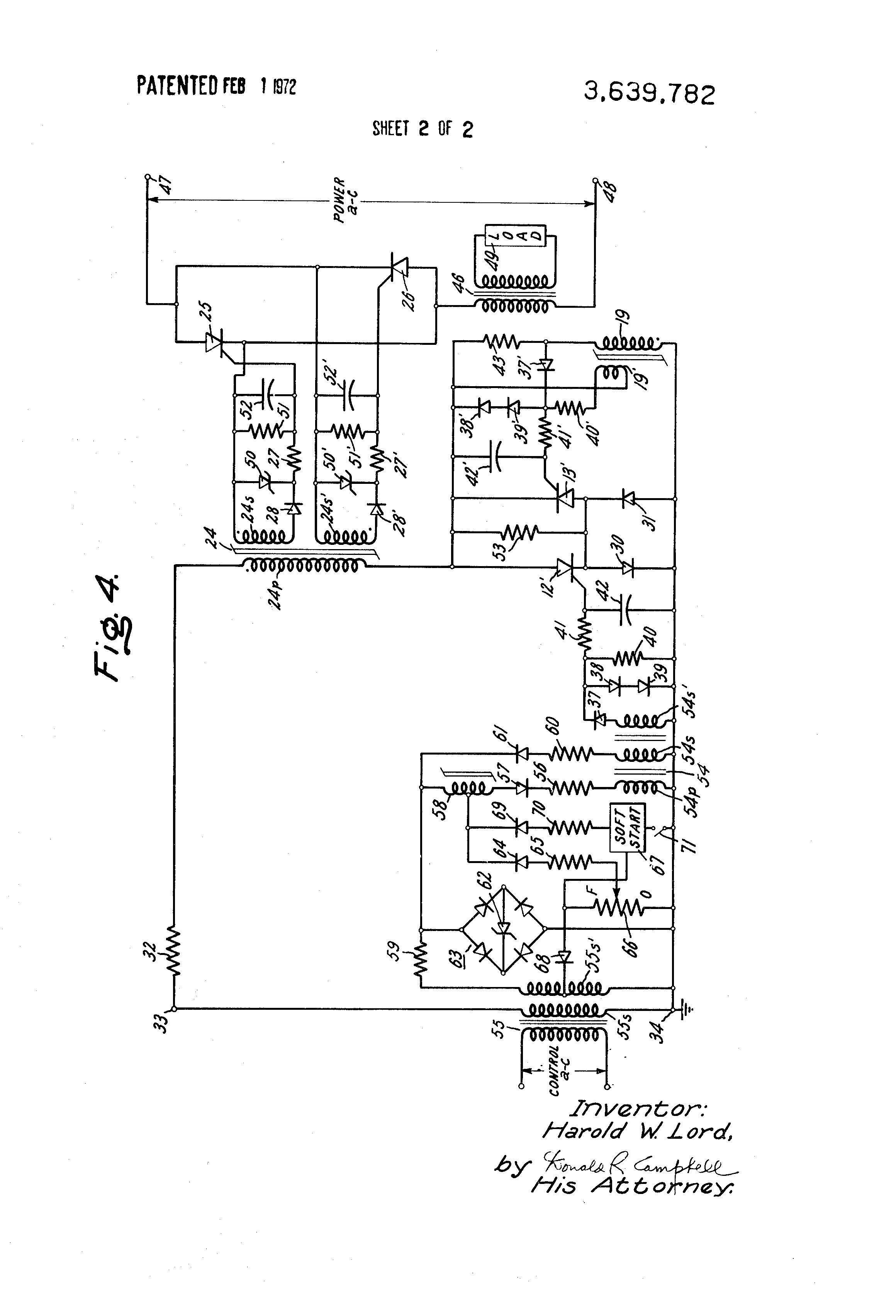Patent Us3639782 Magnetic Slave Gating Circuit For Full Wave Phase The Two Diodes Are Part Of 37 A Bridge Rectifier Used In Drawing