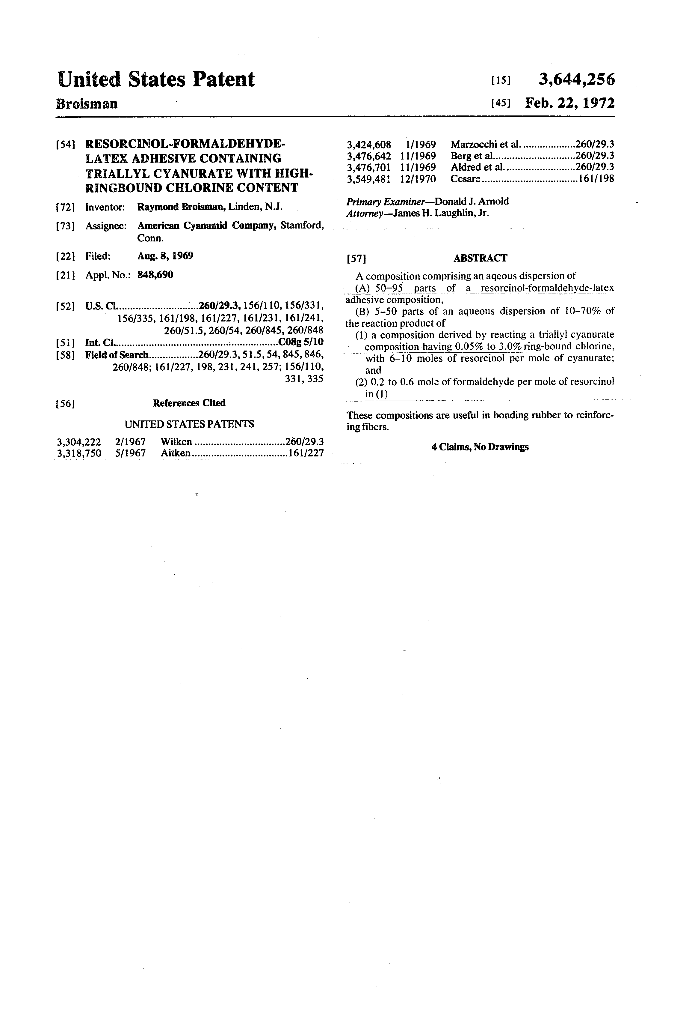 Patent Us3644256 Resorcinol Formaldehyde Latex Adhesive
