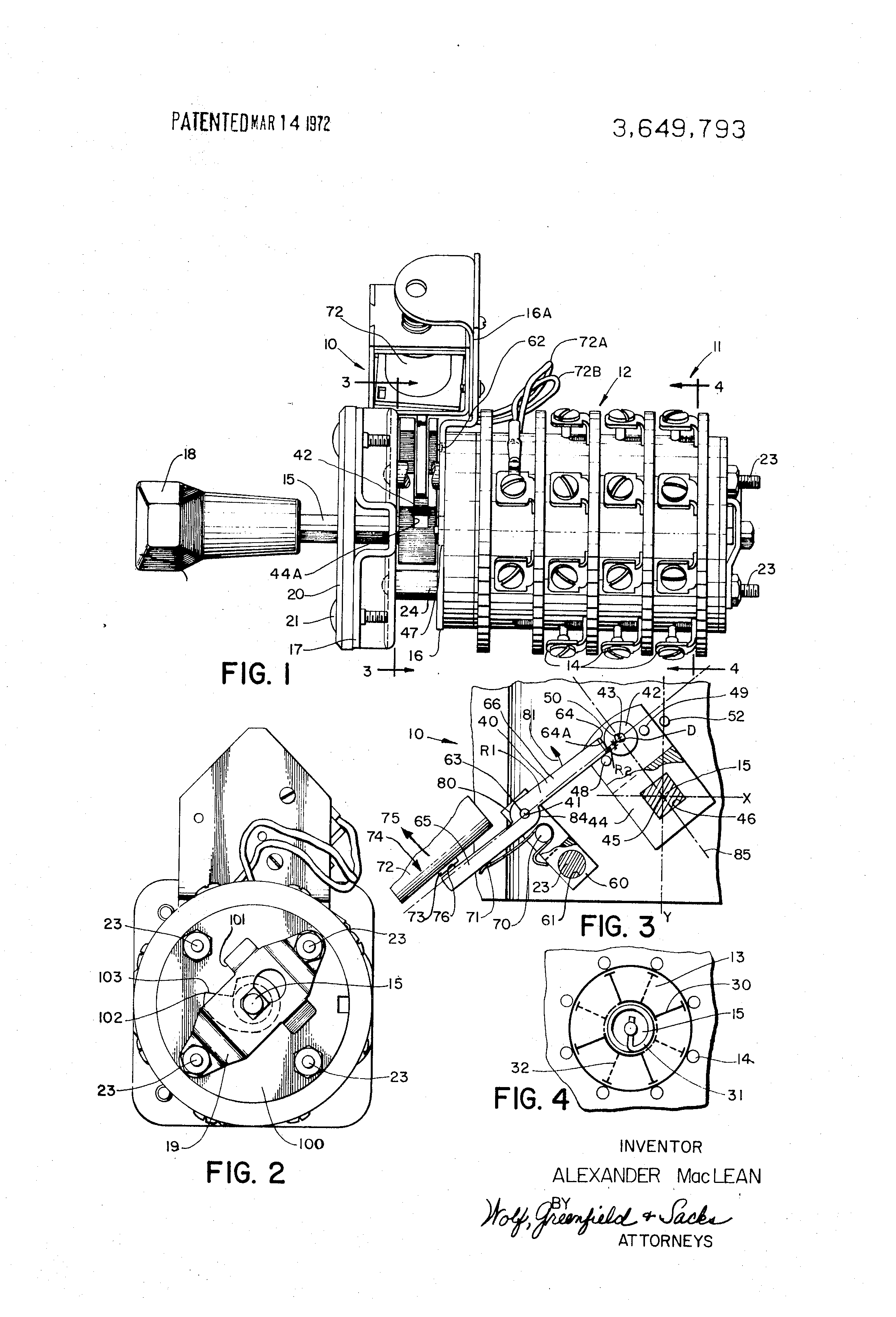 patent us3649793 - trigger mechanism for rotary switches and the like