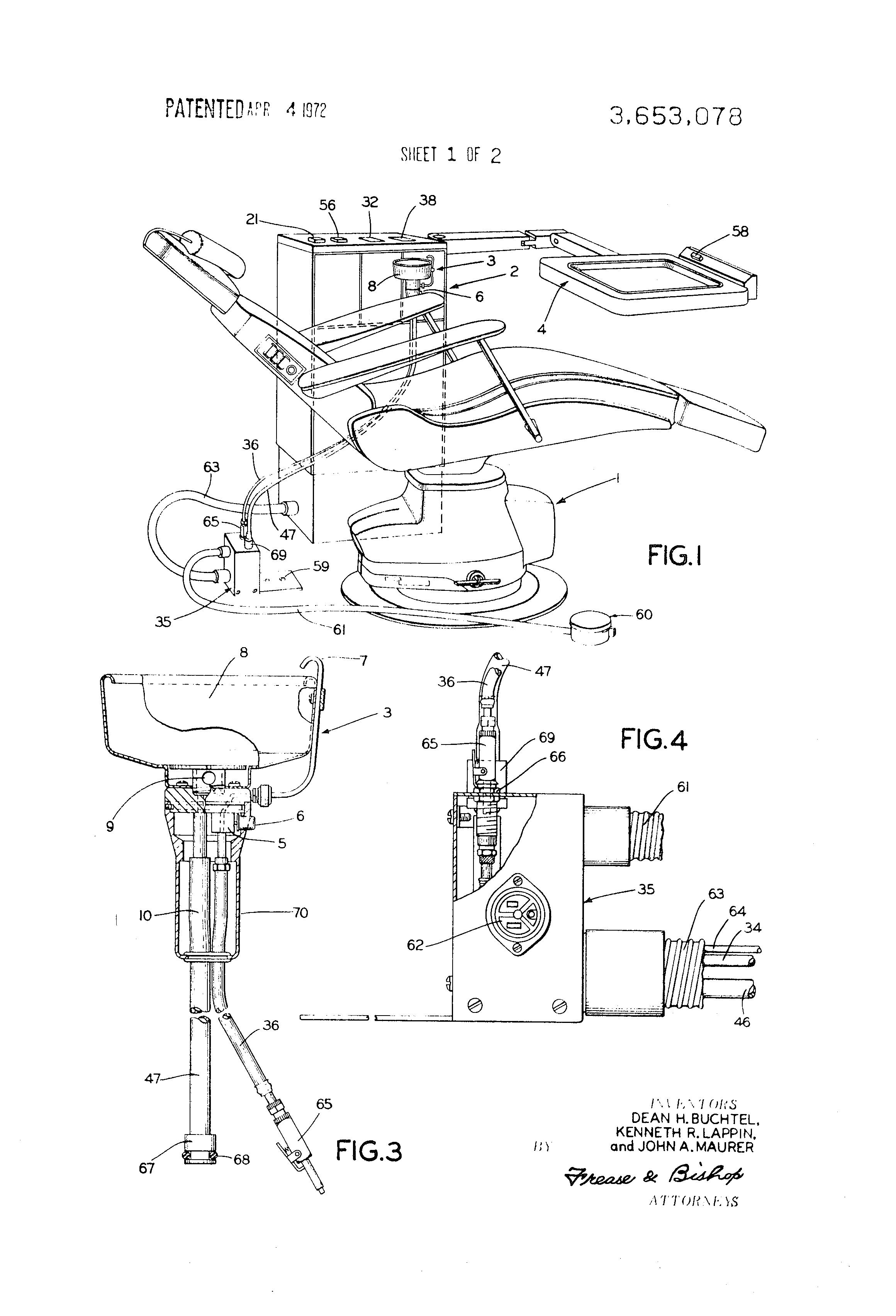 Patent Us3653078 Portable Dental Bowl Construction