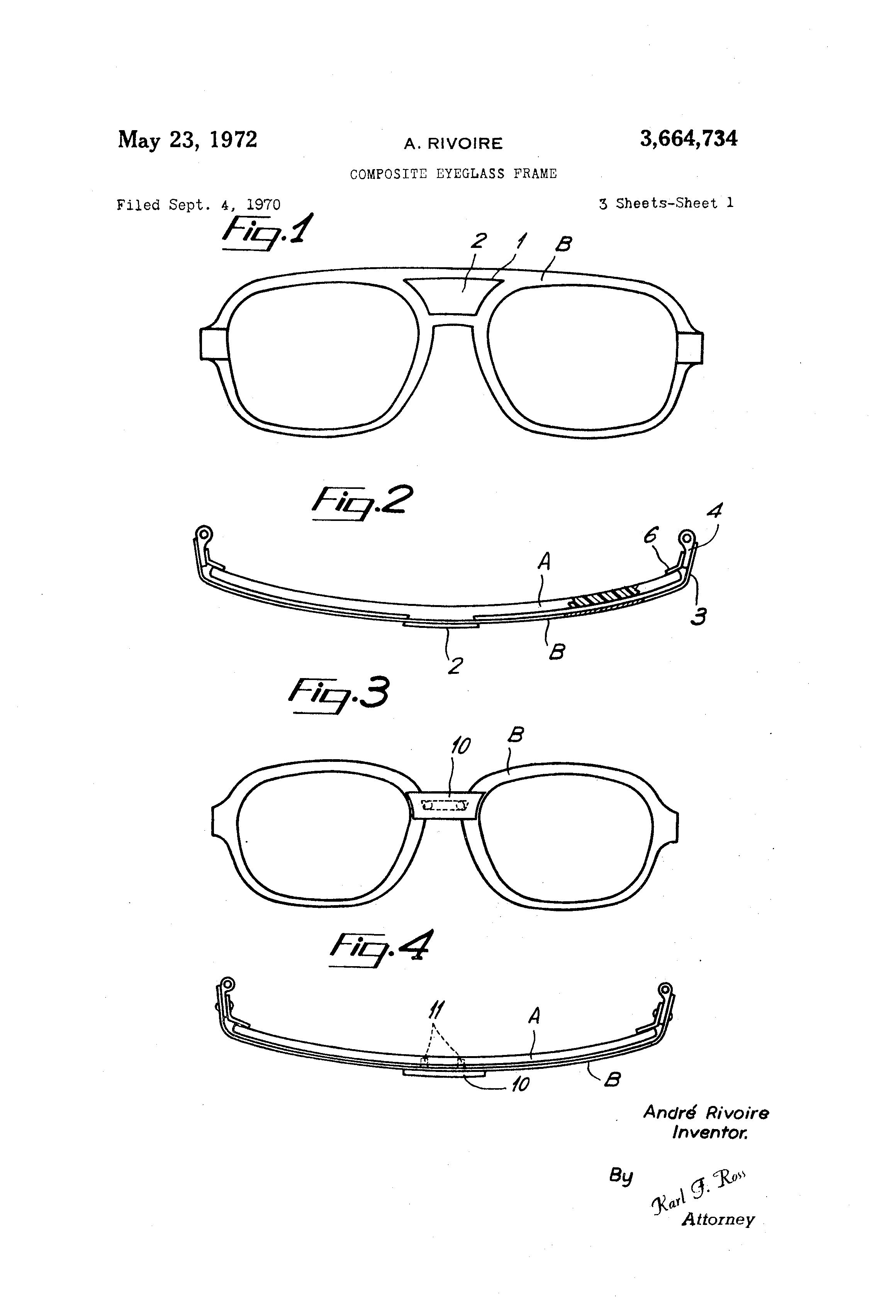 Brevet US3664734 - Composite eyeglass frame - Google Brevets