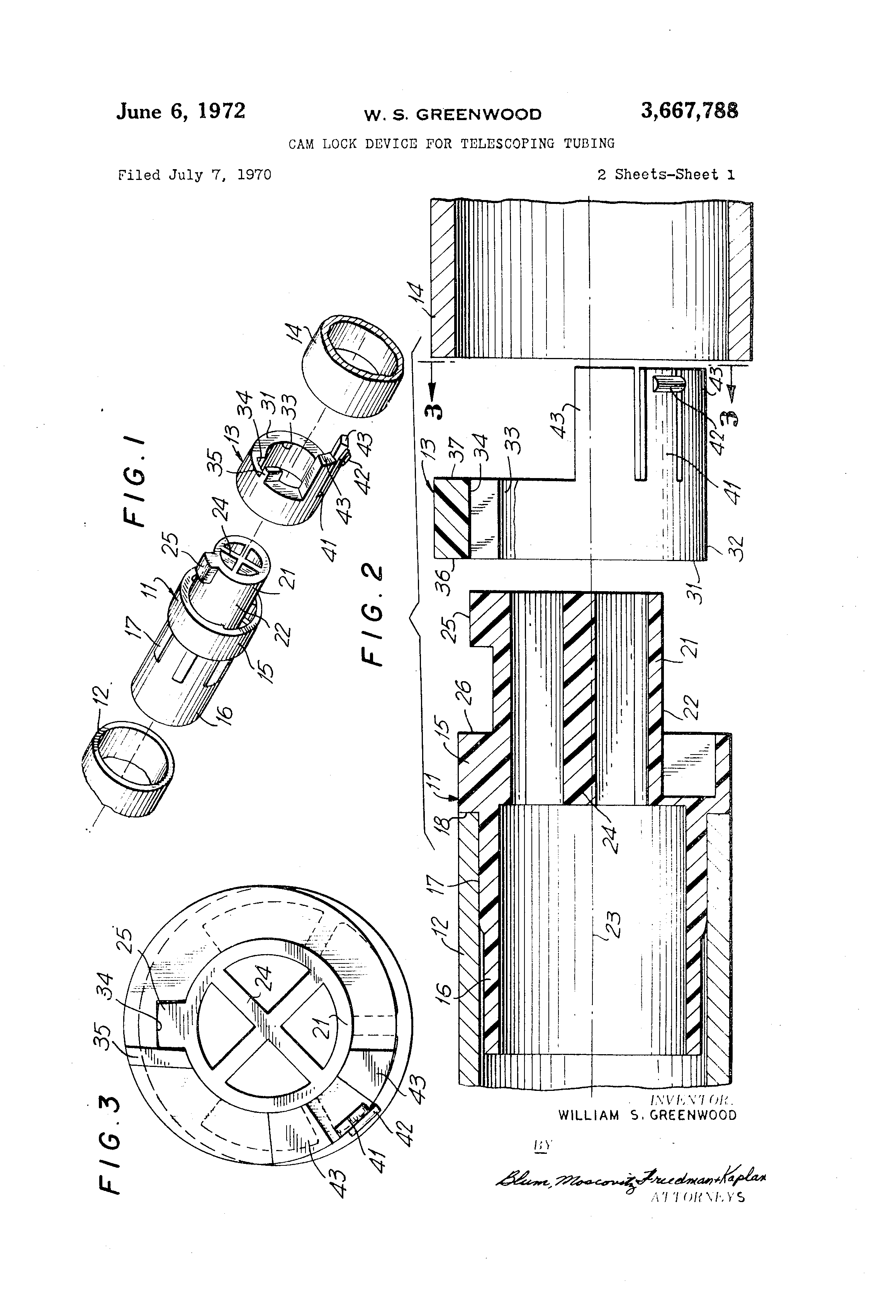 Patent us cam lock device for telescoping tubing