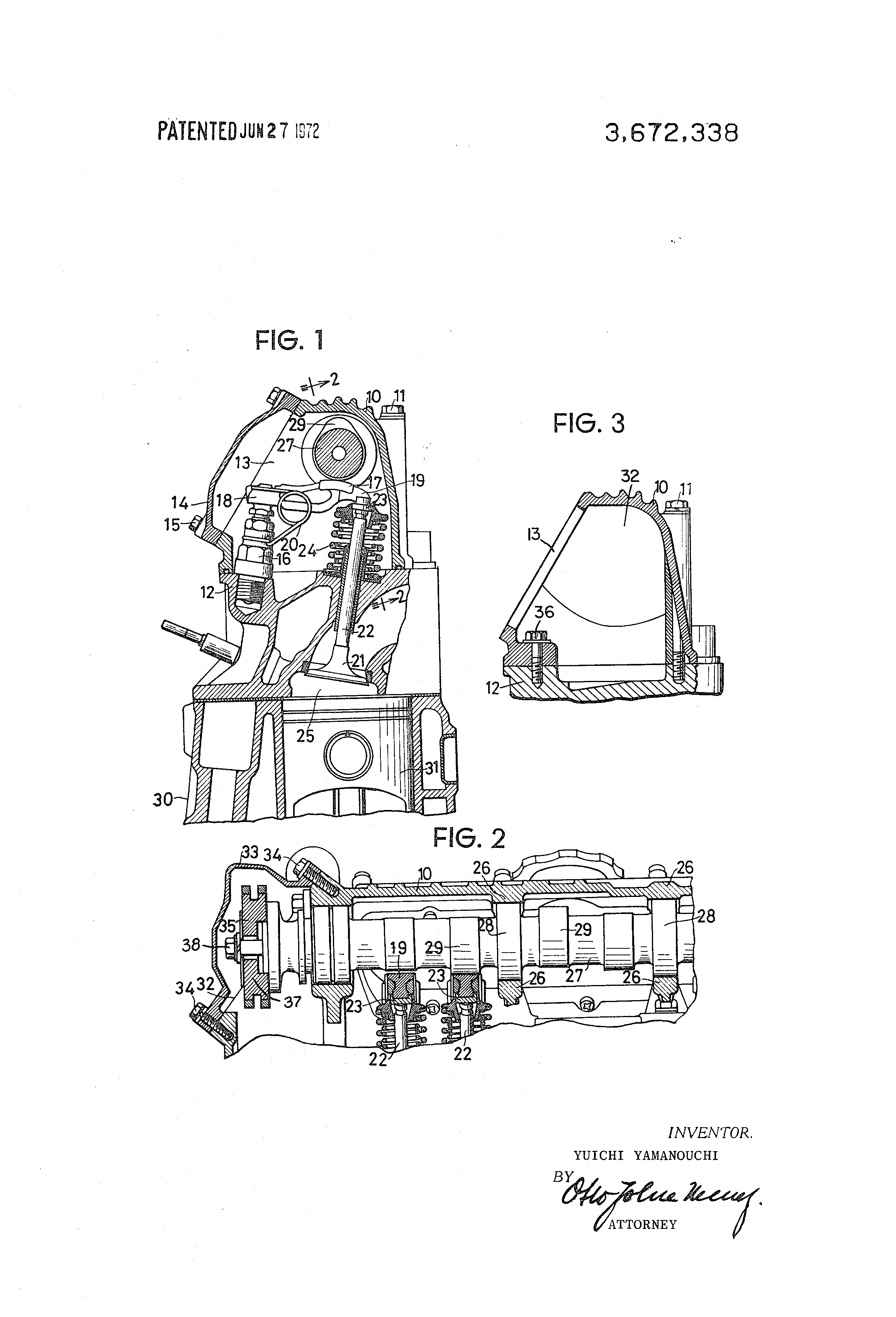 Patent Us3672338 Internal Combustion Engine With Overhead Valve Block Diagram The Diesel Has Drawing
