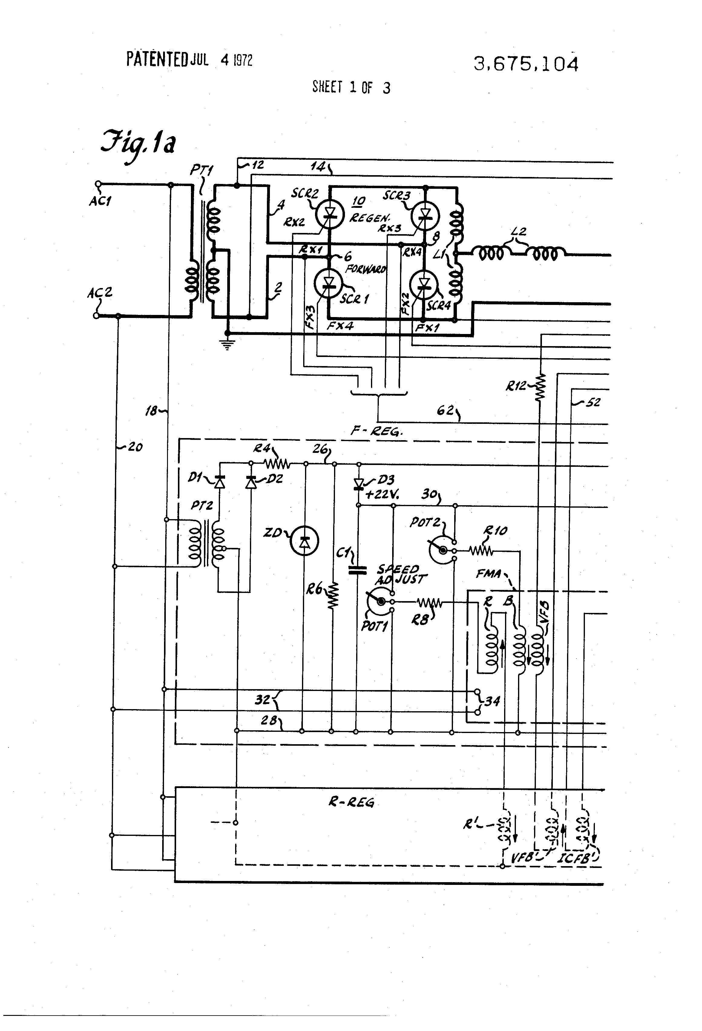 patent us3675104 - single-phase full-wave regenerative scr shunt motor control system