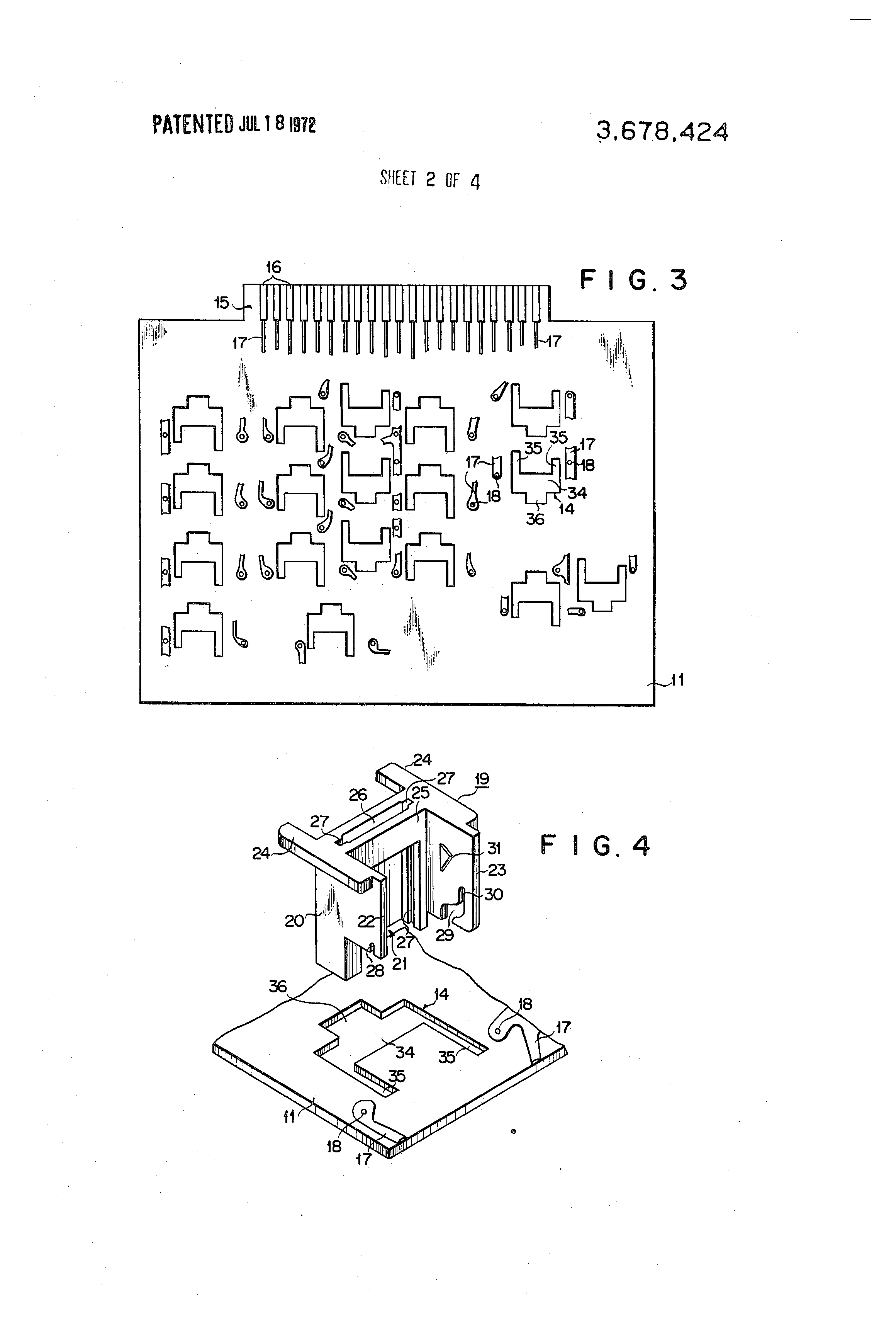 Patent Us3678424 Keyboard Switch Assembly Google Patents Printed Circuit Board Drawing