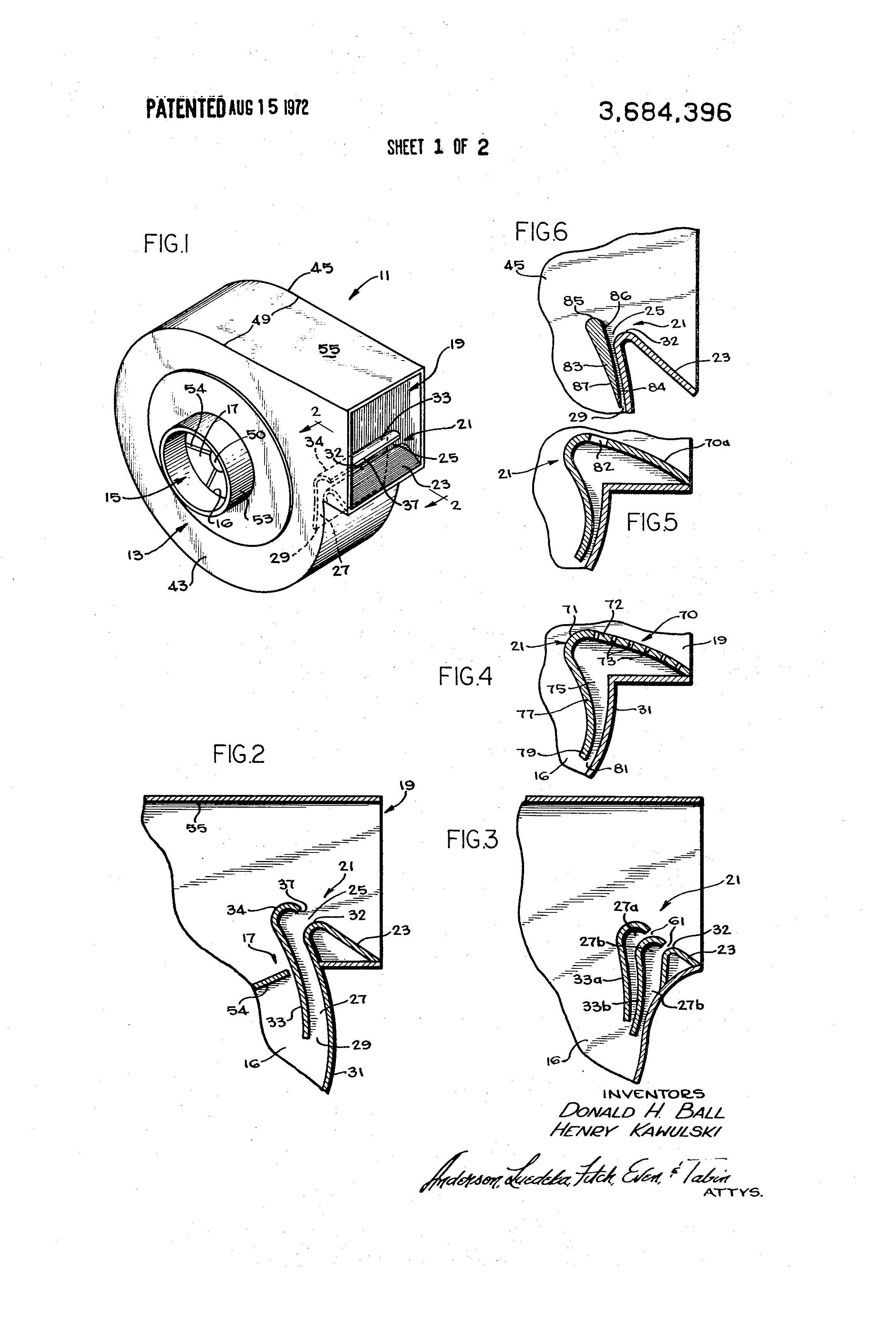 Patent US3684396 Centrifugal fan with improved cut off means  #3C3C3C