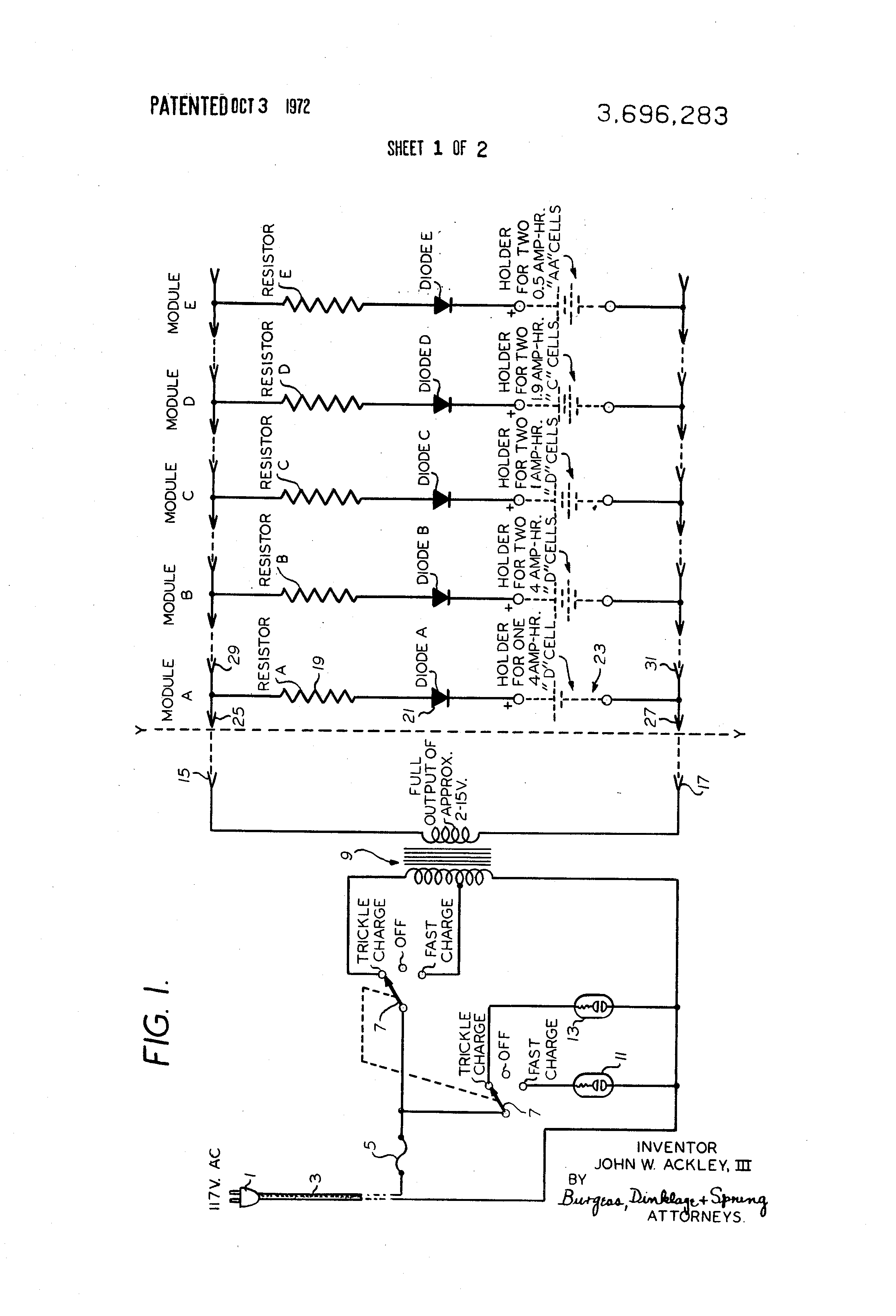Patent Us3696283 Modular Battery Charger Google Patents Fox Wiring Diagram Drawing