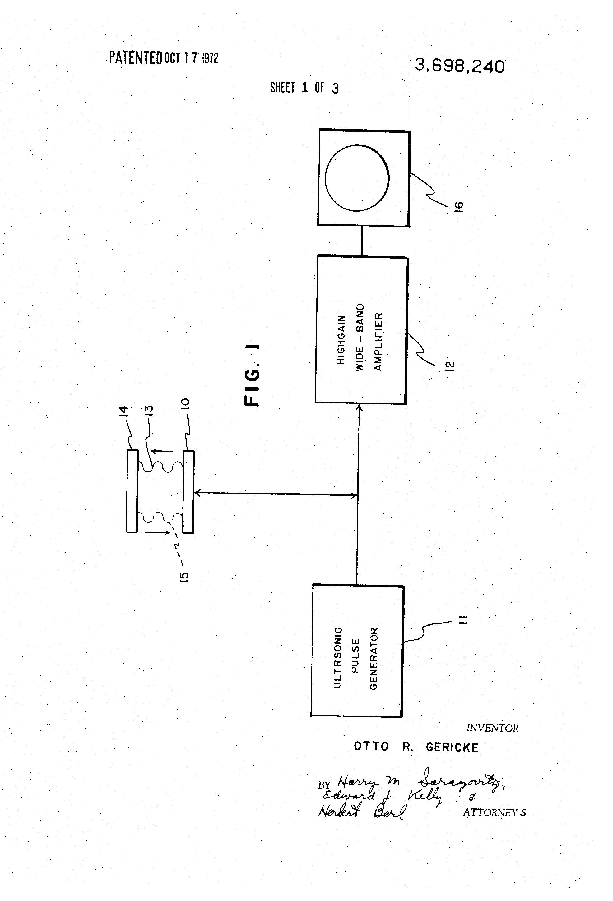 Patent Us3698240 Electronic Circuit For Prevention Of Receiver Ultrasonic Drawing