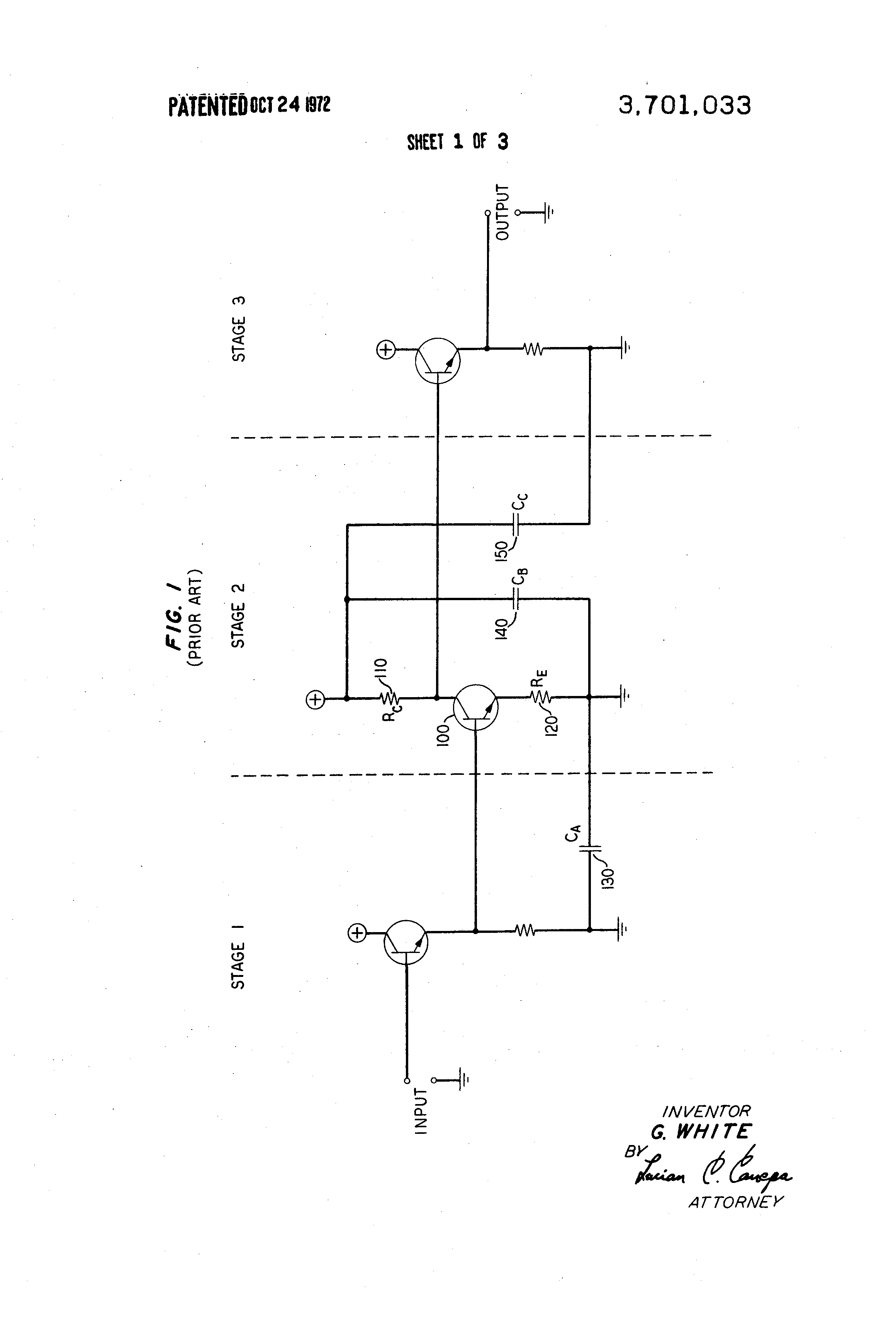 Patent Us3701033 Broadband Amplifier Having Improved Gain Figure 2 Power Frequency Response Drawing
