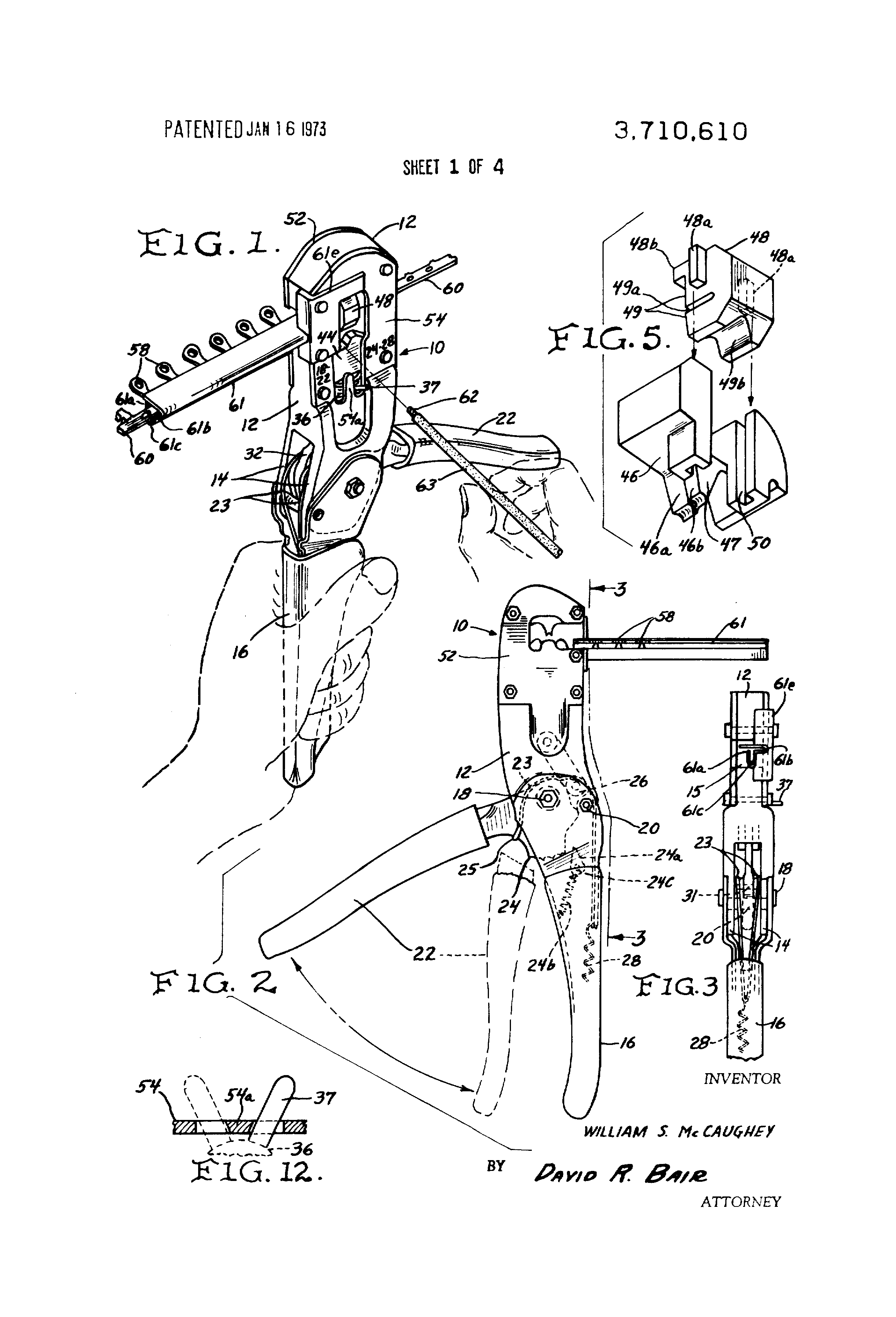patent us3710610 - wire terminal crimping tool