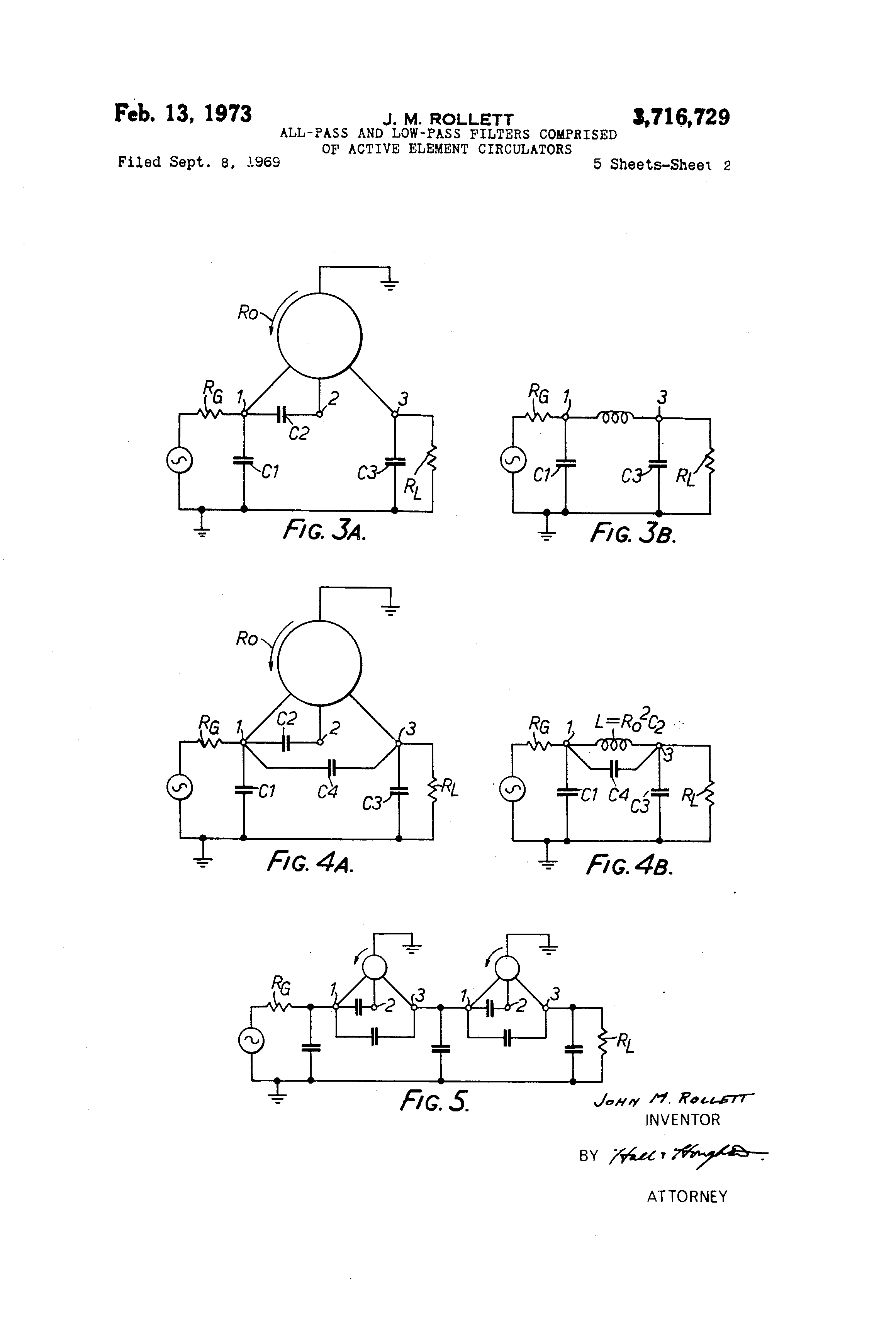 Brevet Us3716729 All Pass And Low Filter Comprised Of Active Order Circuit Is Shown In The Figure This Element Circulators Google Brevets