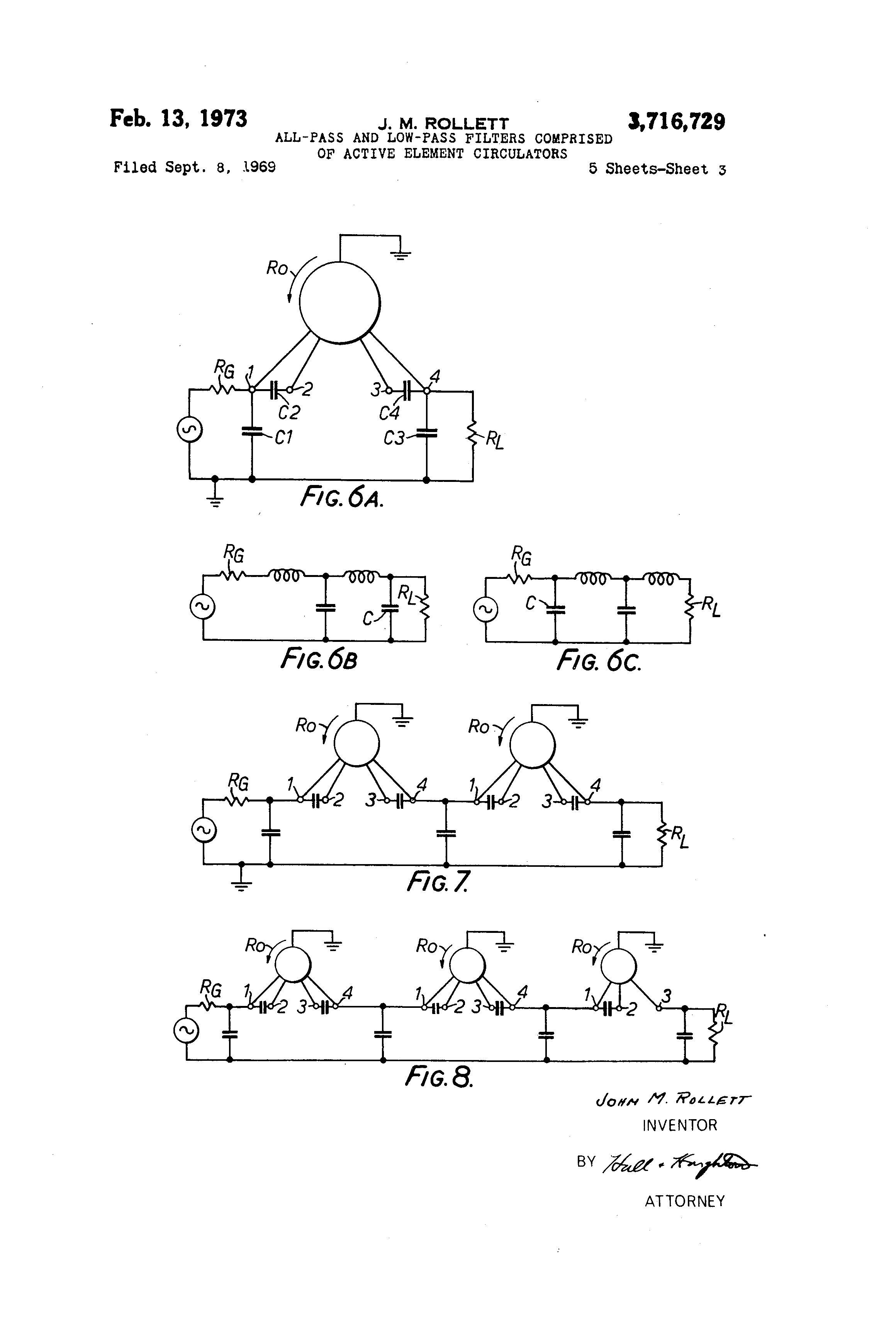 Patent Us3716729 All Pass And Low Filter Comprised Of Active Circuits Multi Notch Circuit 1 Khz Bandpass Drawing