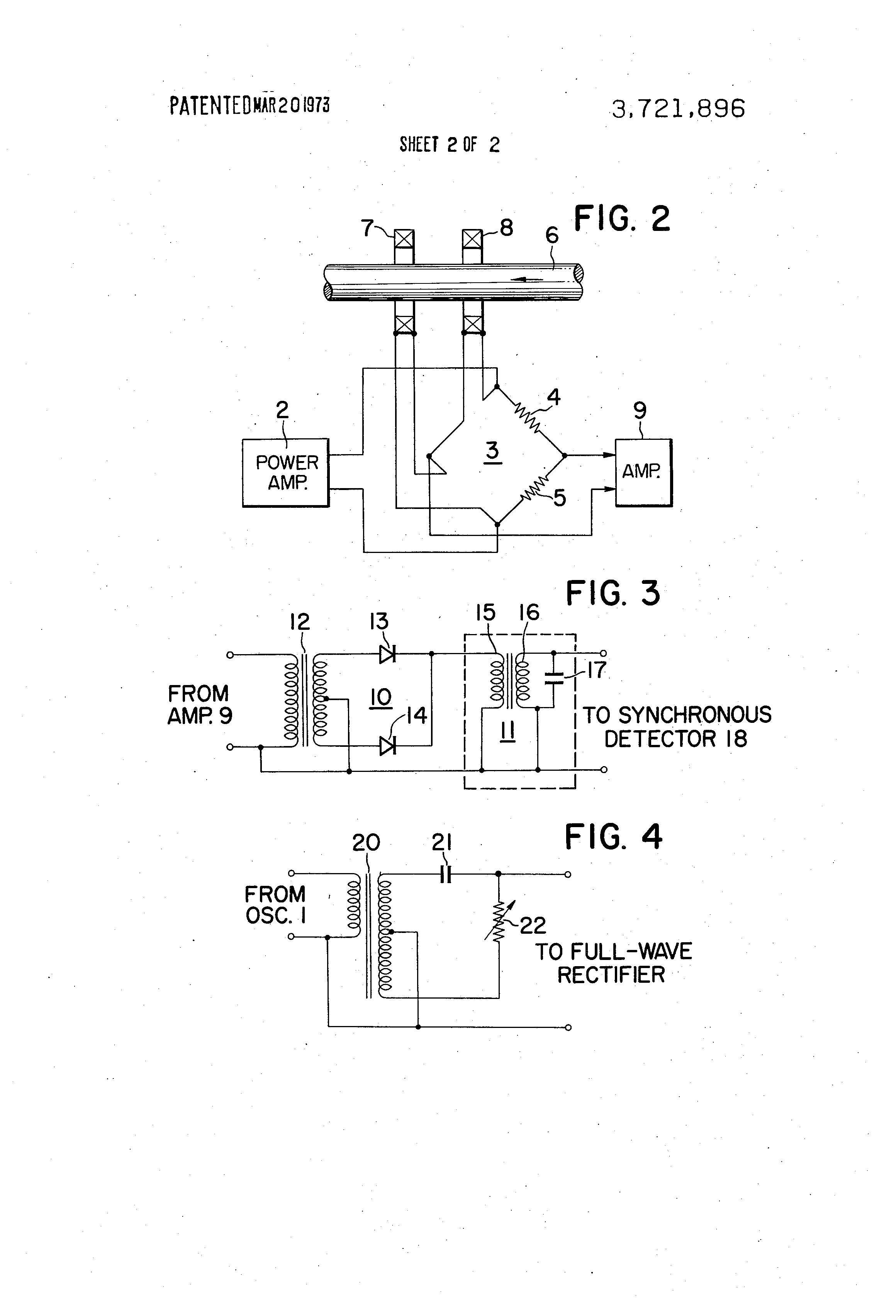 Patent Us3721896 Improved Phase Sensitive Eddy Current Defect Full Wave Frequency Doublers Using Diode And Transformer Circuit Diagram Drawing