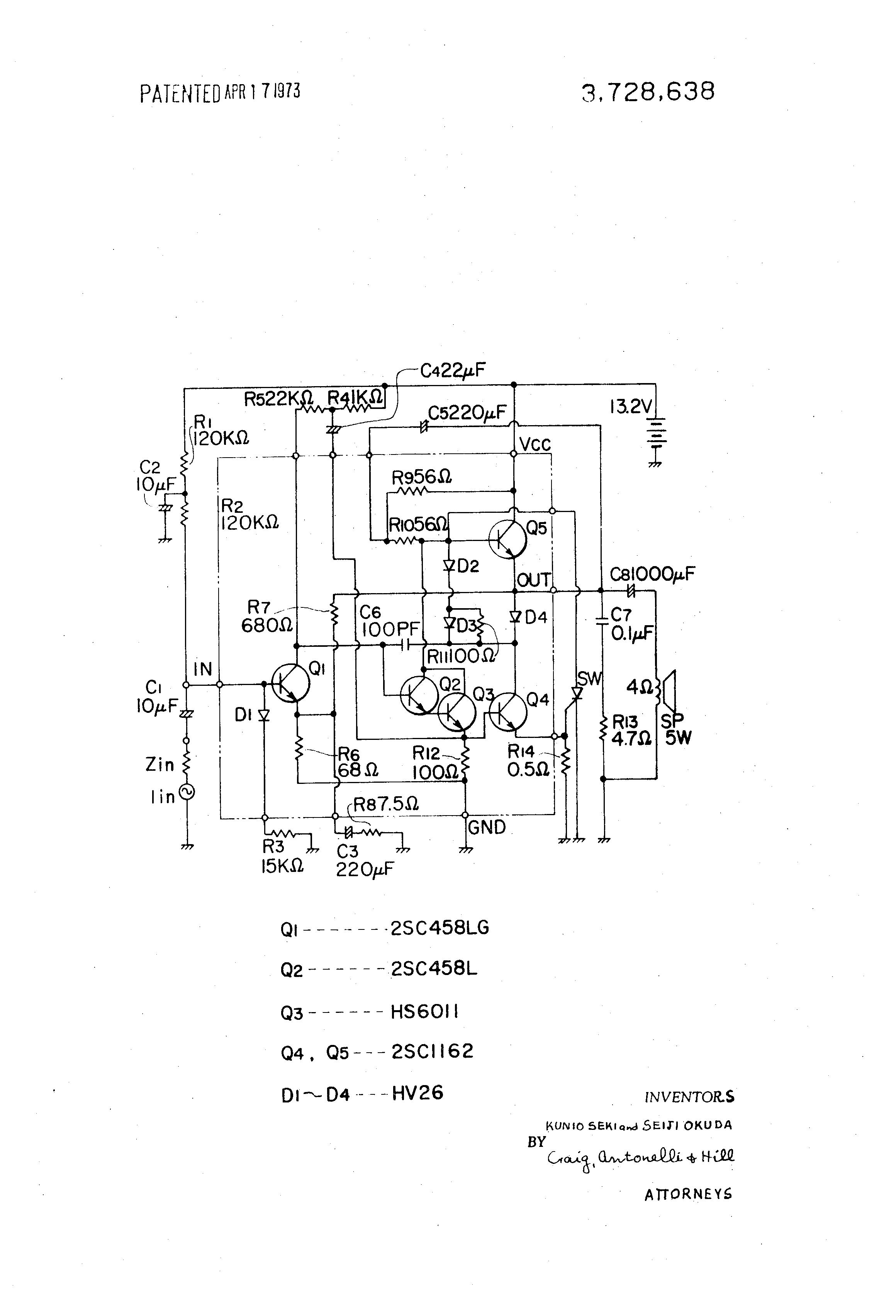Brevet Us3728638 Transistorized Power Amplifier Circuit Google Simple 3 Transistor Patent Drawing