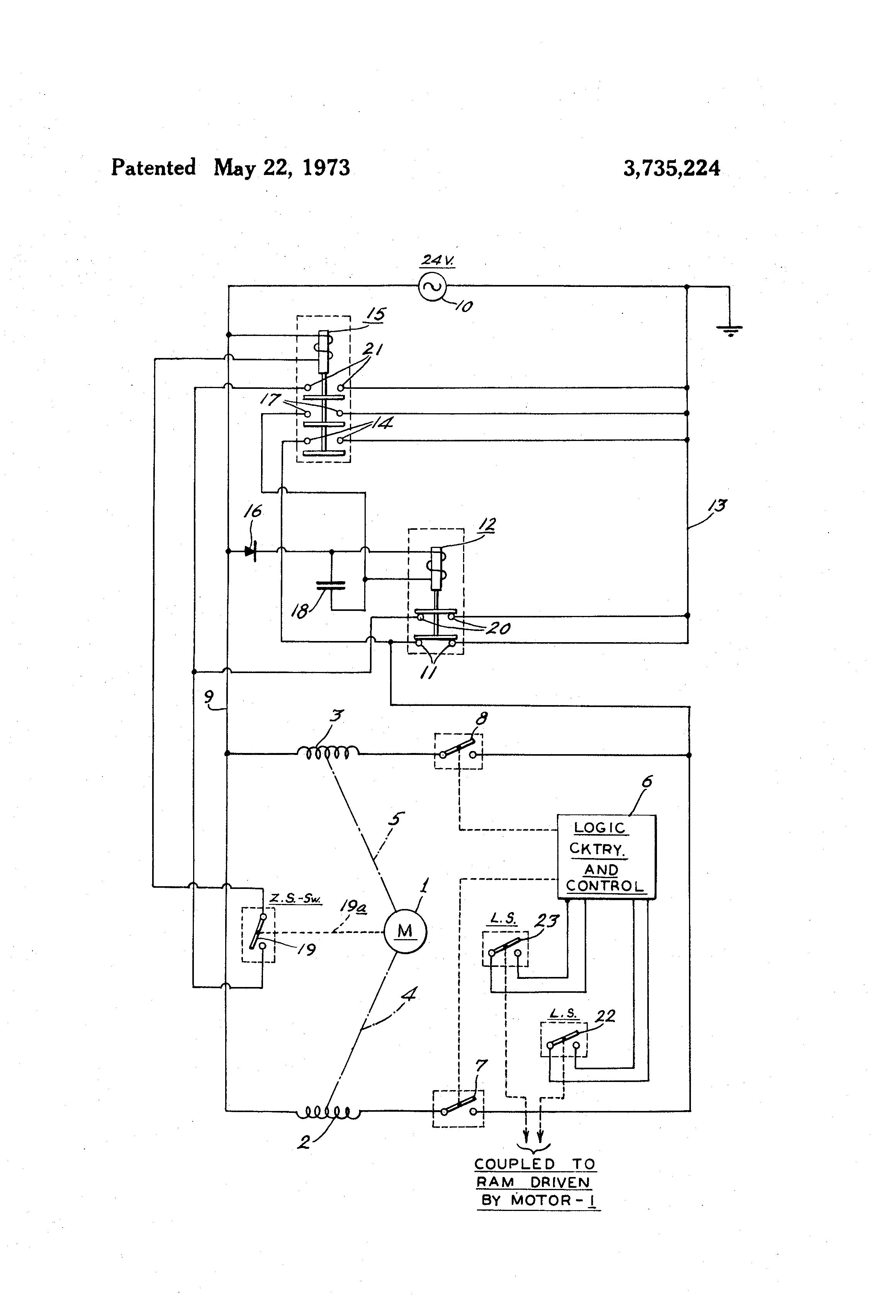 Patent Us3735224 Relay Circuit For Motor Control Google Patents Logic Diagram Of Ram Drawing
