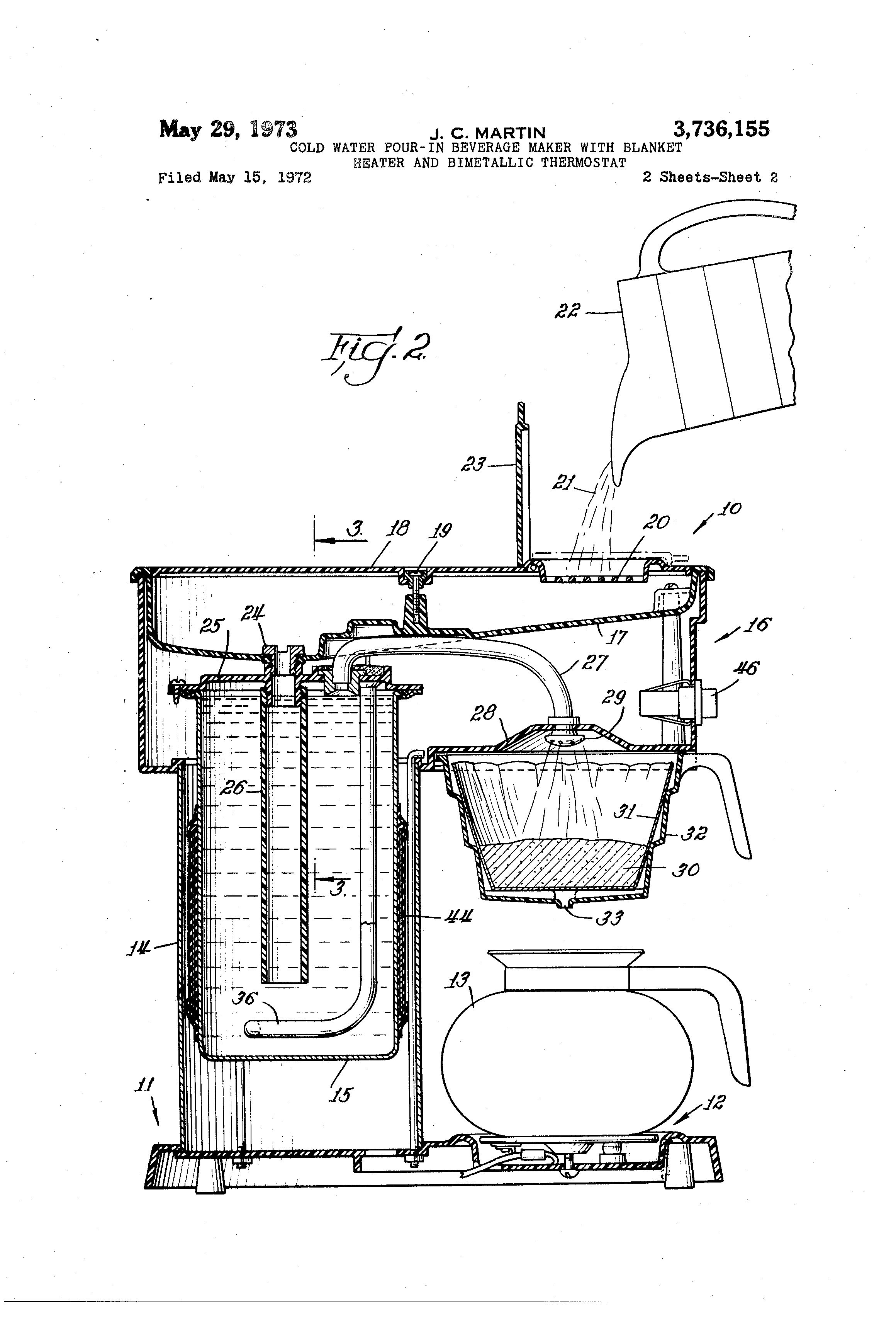 Patent Us3736155 Cold Water Pour In Beverage Maker With Blanket Farberware Coffee Pot Wiring Diagrams Drawing