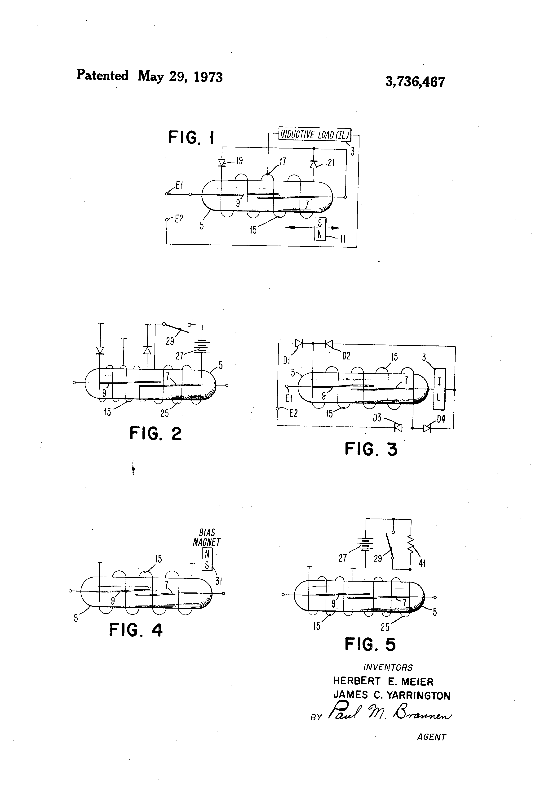 Patent Us3736467 Reed Relay Circuit For Controlling Inductive Contact Protection Diagram 2 Drawing