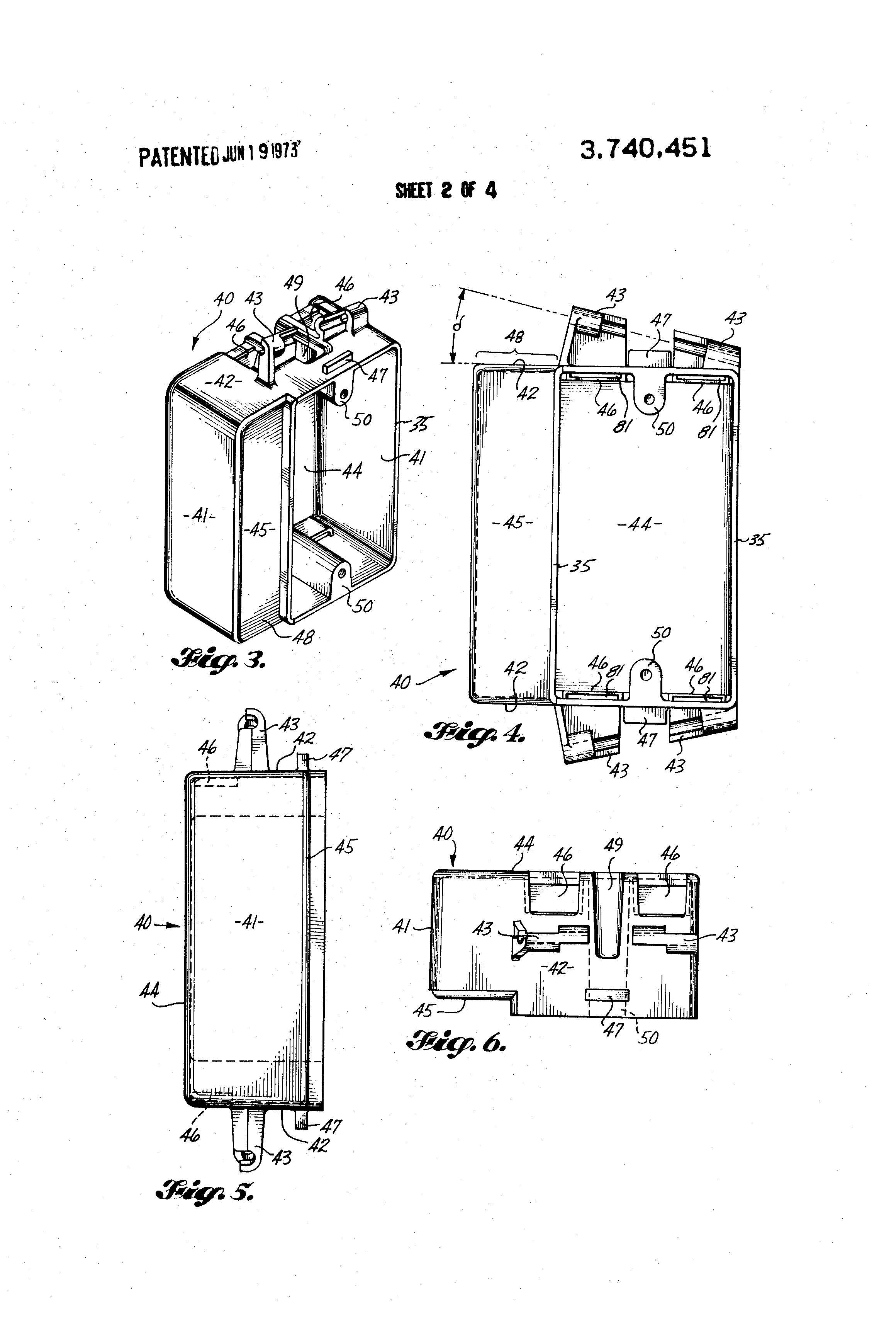 patent us3740451 - molded electrical junction box
