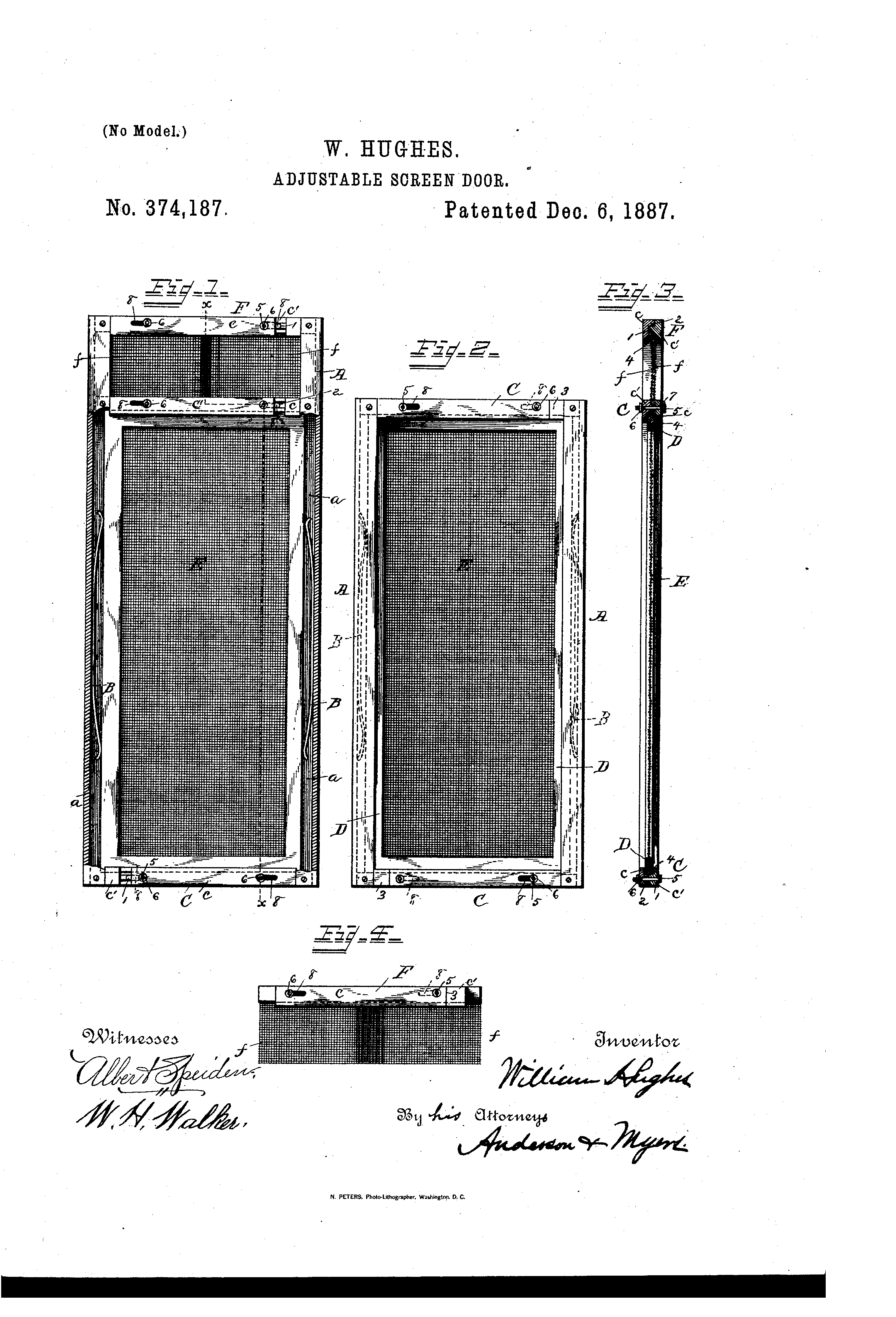 Patent Us374187 Adjustable Screen Door Google Patents