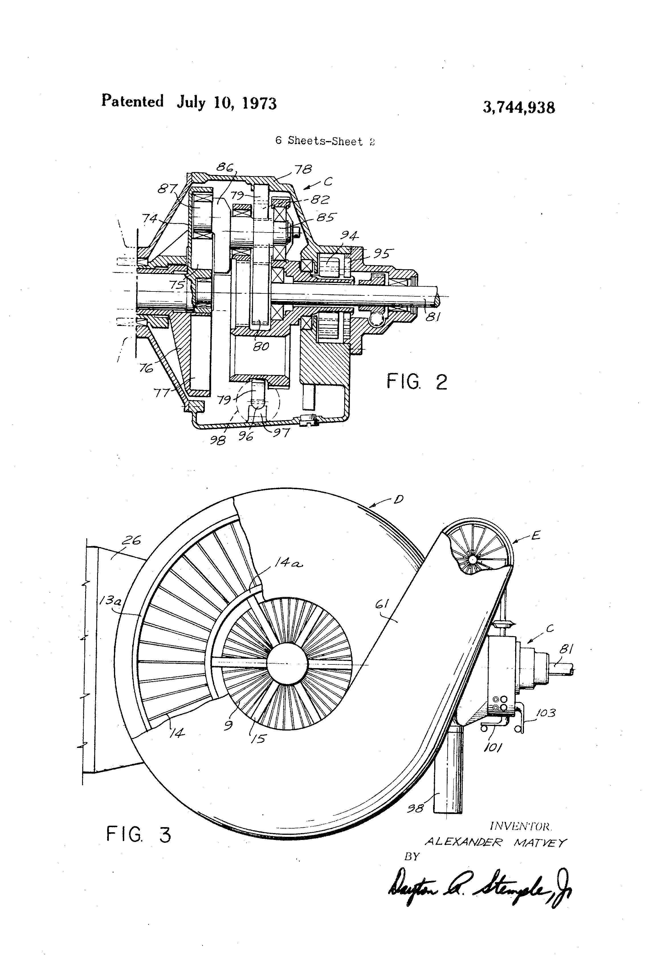 patent us3744938 - alternating vane type rotary engine with planetary gear system