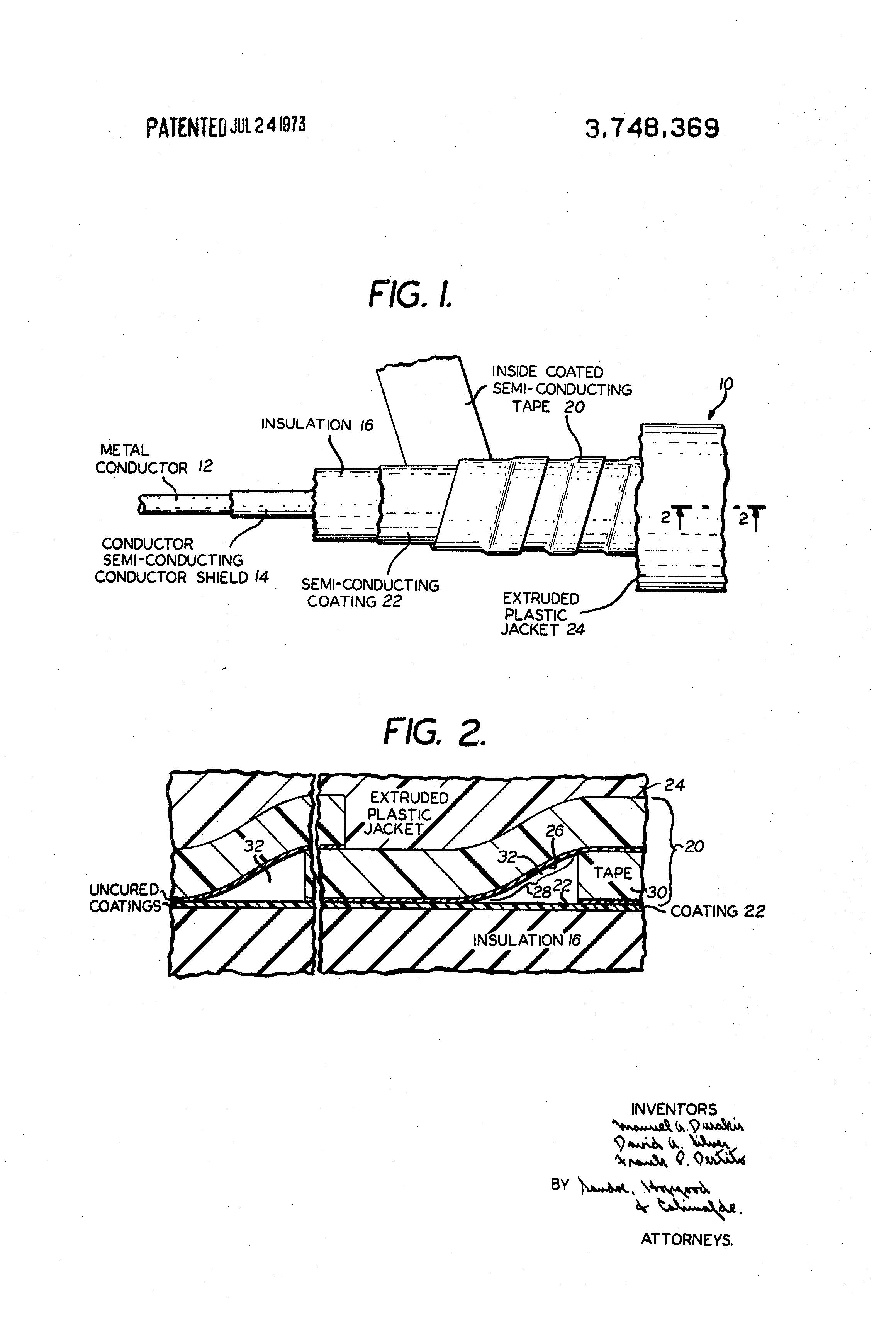Patent Us3748369 Method Of Shielding High Voltage Solid Dielectric Shielded Wire Harness Drawing