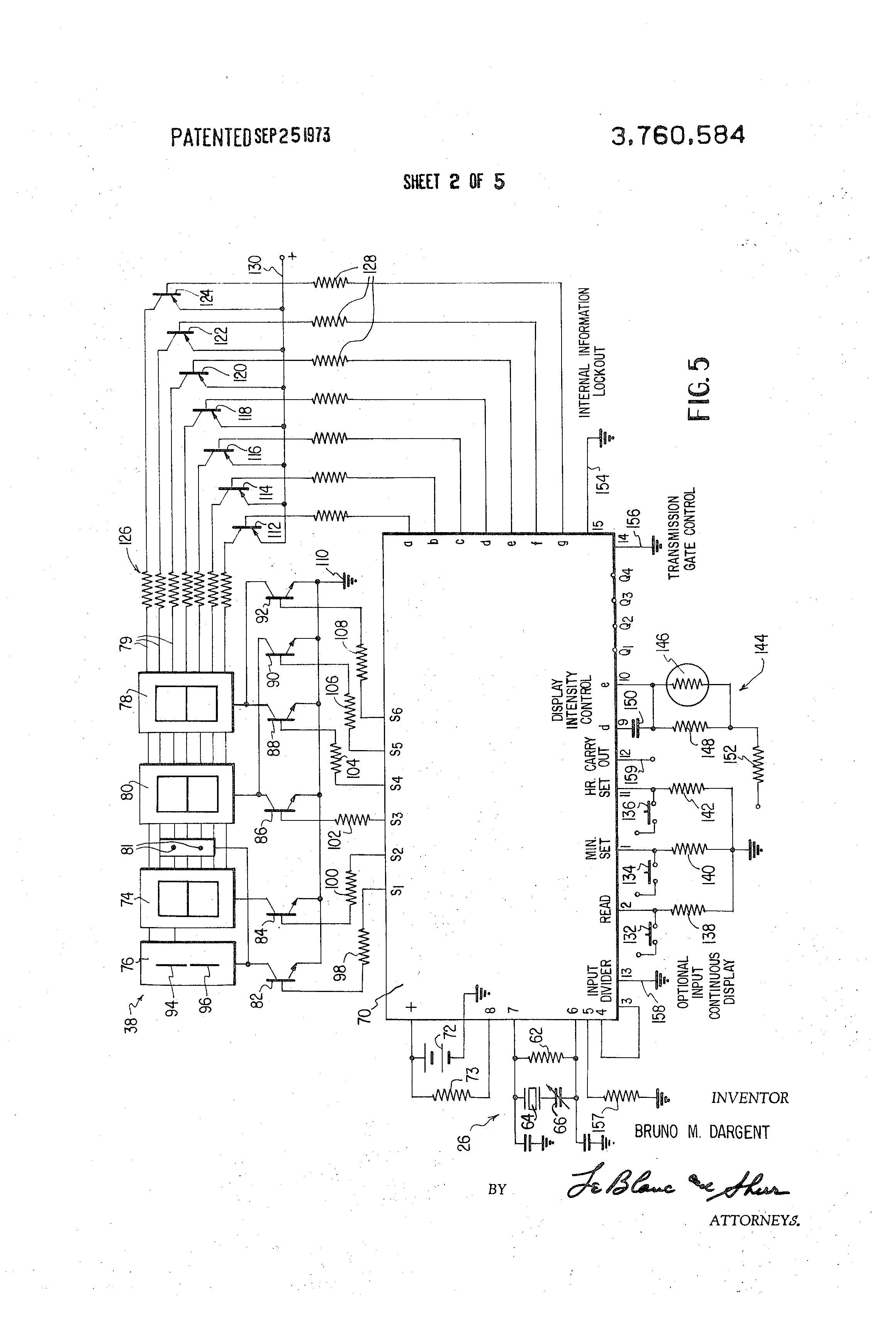 patent us3760584 - integrated circuit solid state watch