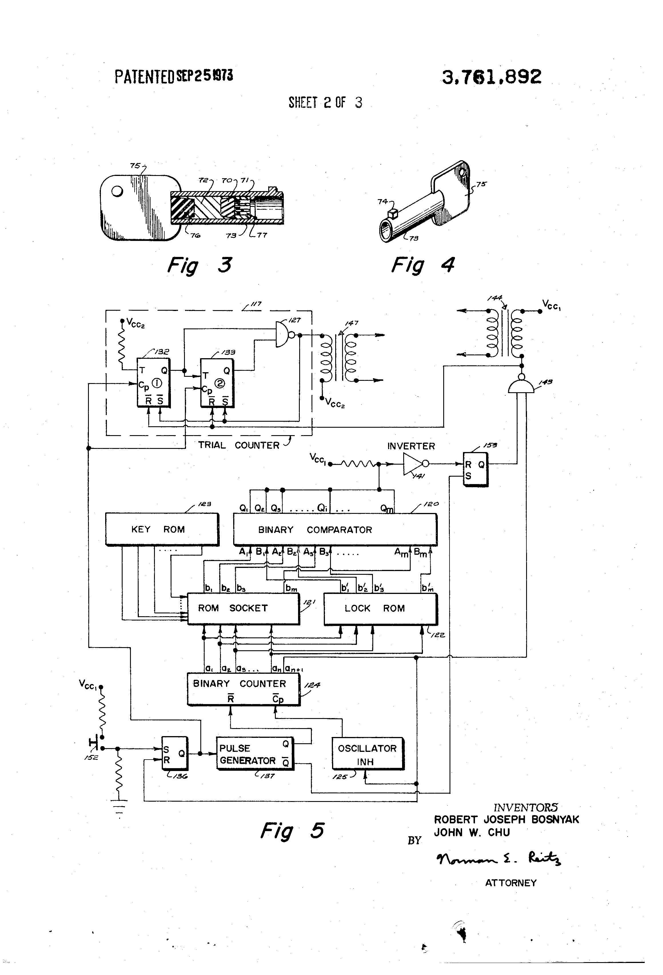 Patent Us3761892 Electronic Locking System Google Patents Circuit Diagram Avalanche Pulse Generator Drawing