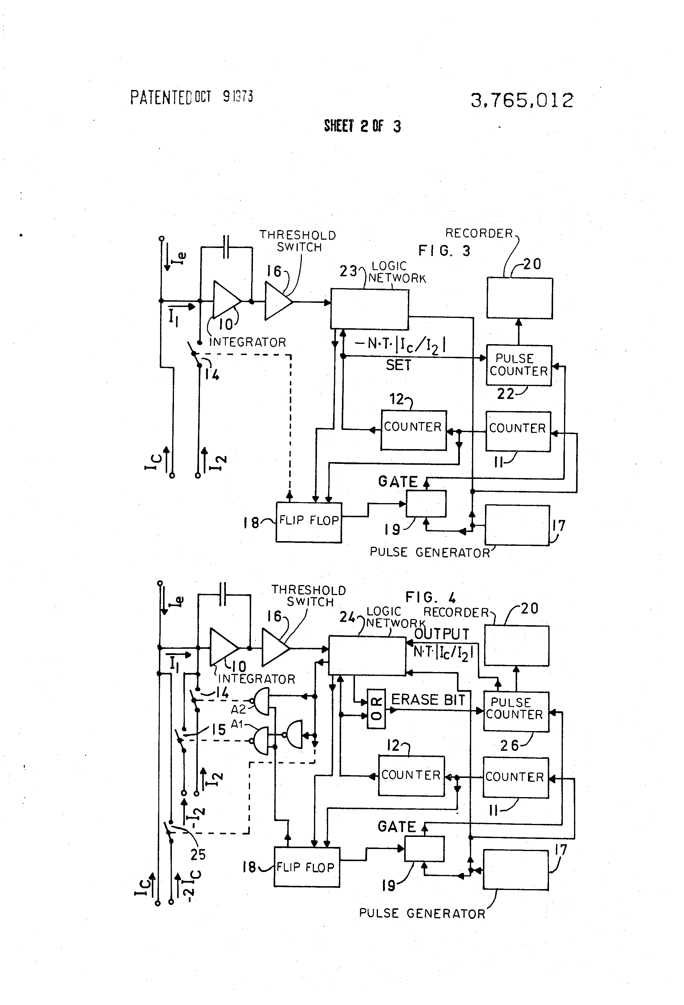 Patent Us3765012 Analog Digital Converter Utilizing Multiple Ramp Pulse Counter Circuit Schematic Diagram Drawing