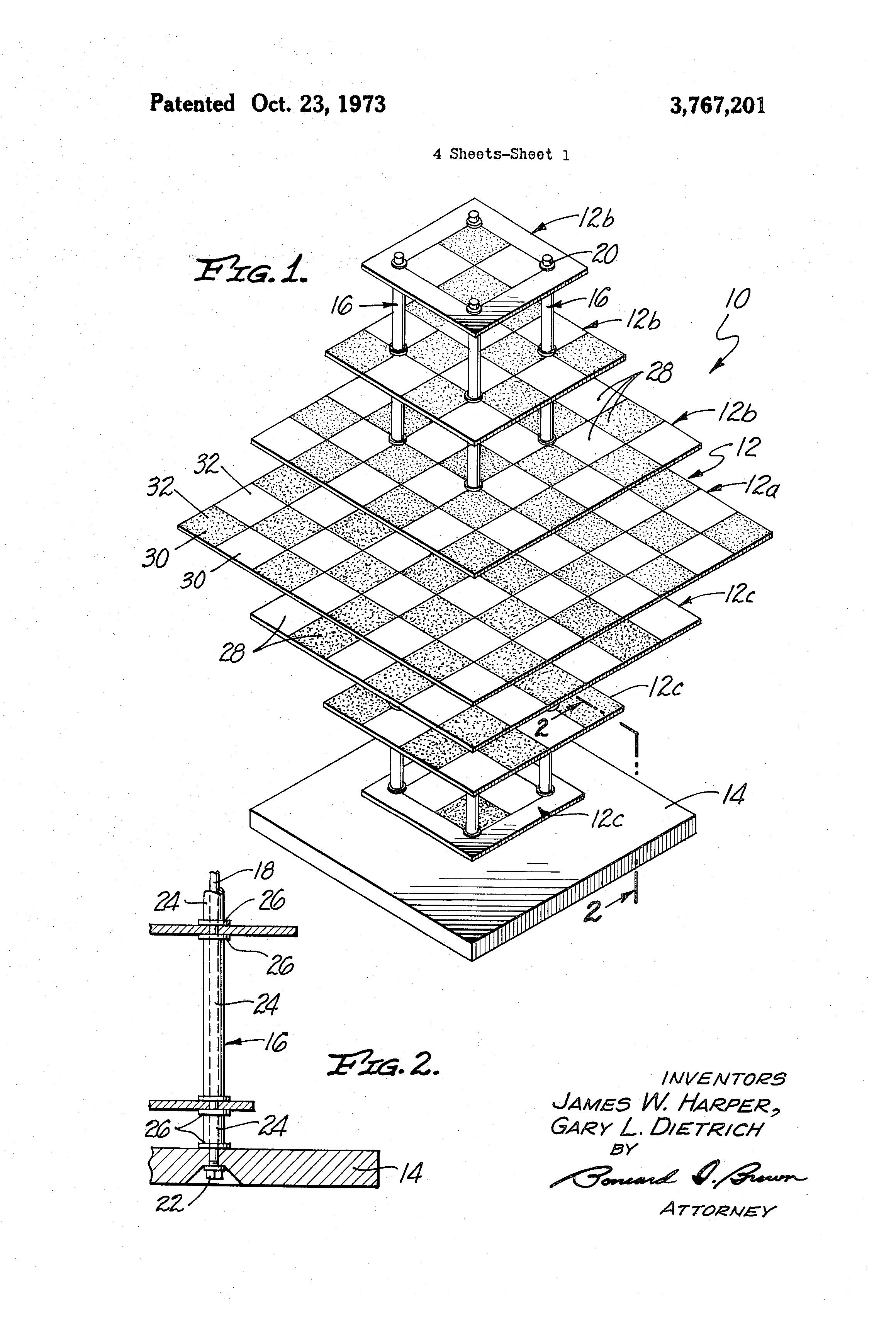 Patent us3767201 multi level game board structure for three dimensional chess and checker - Multi level chess board ...