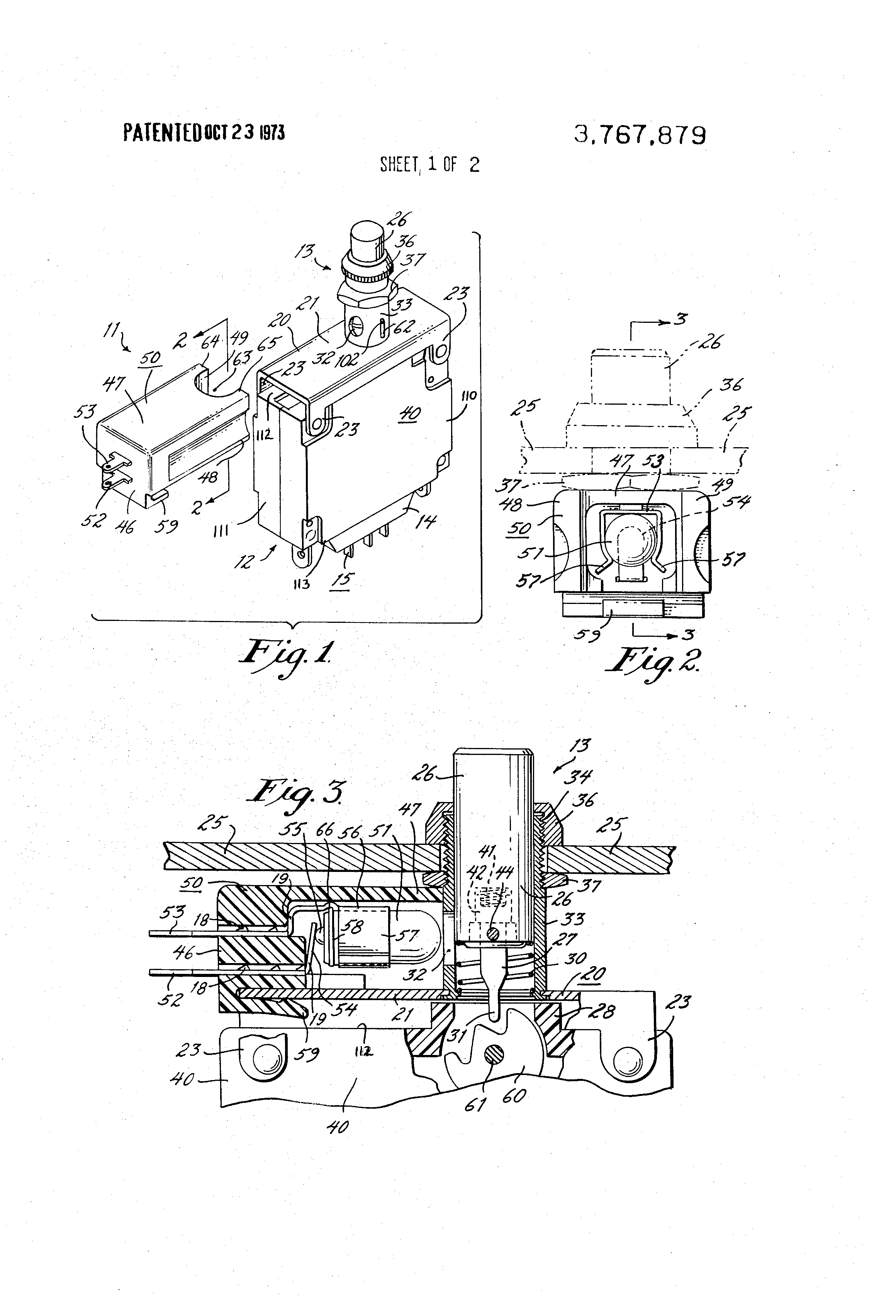 patent us3767879 - circuit breaker with improved lighted indicator