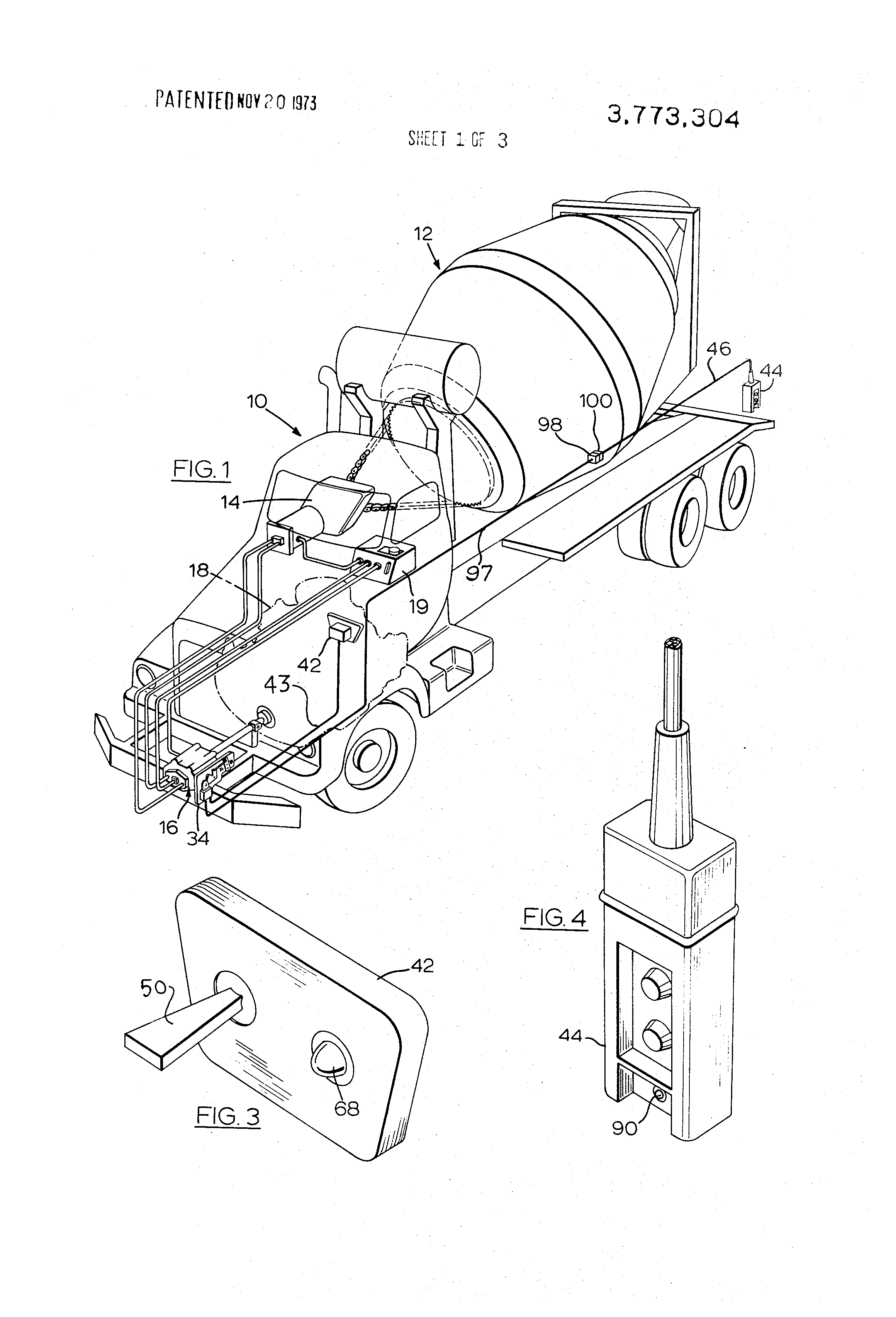 patent us3773304 - control for vehicular concrete mixer