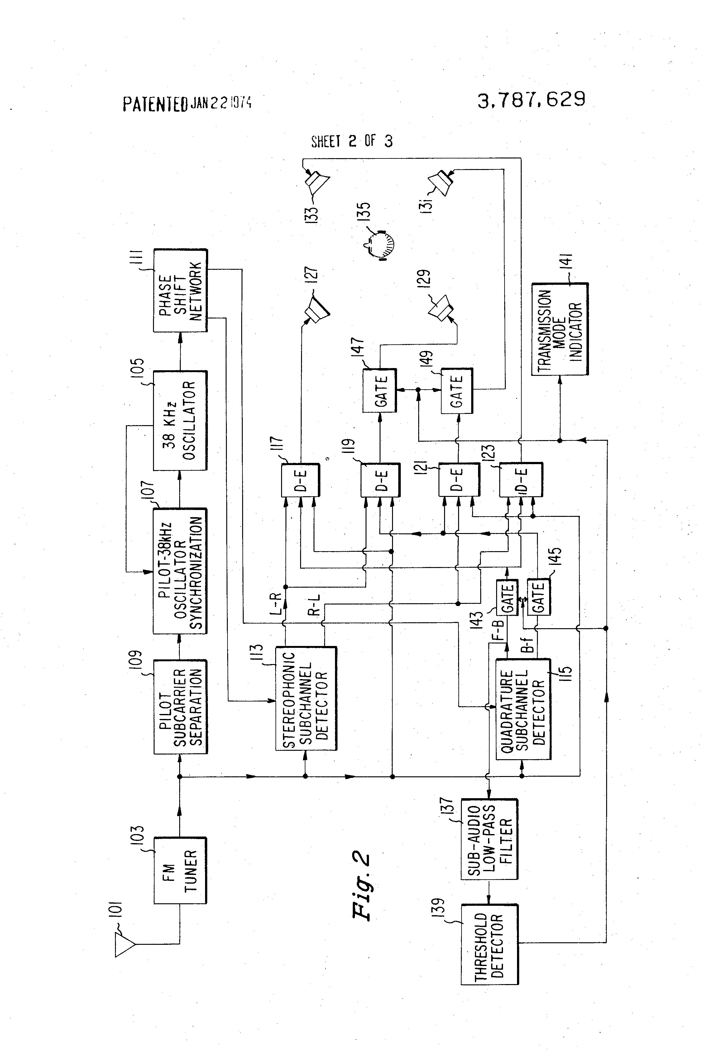 Patent Us3787629 Apparatus For Distinguishing Between Various Fm Figure 2 4 Transmitter Block Diagram Drawing