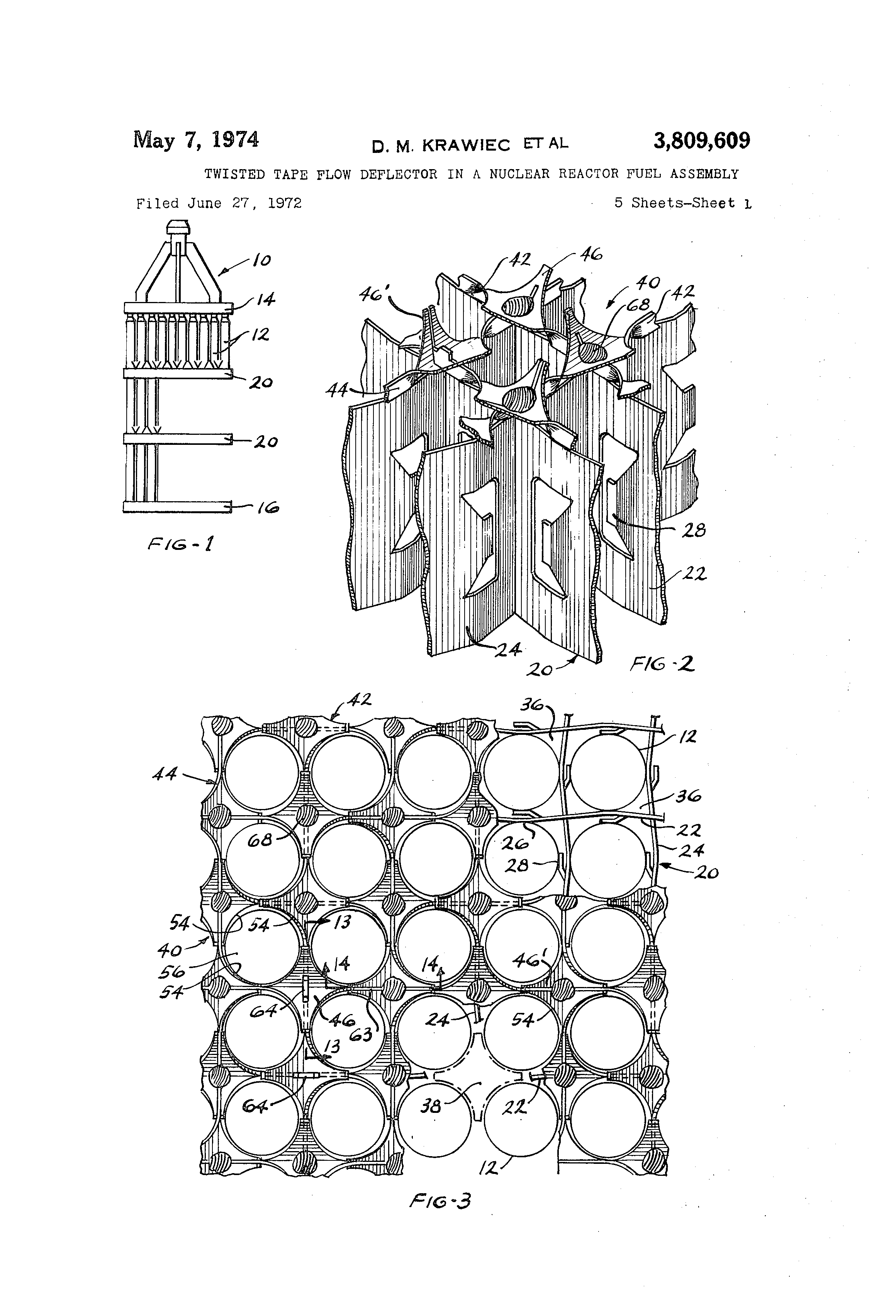 Patent Us3809609 Twisted Tape Flow Deflector In A Nuclear Reactor Power Plant Diagram Drawing