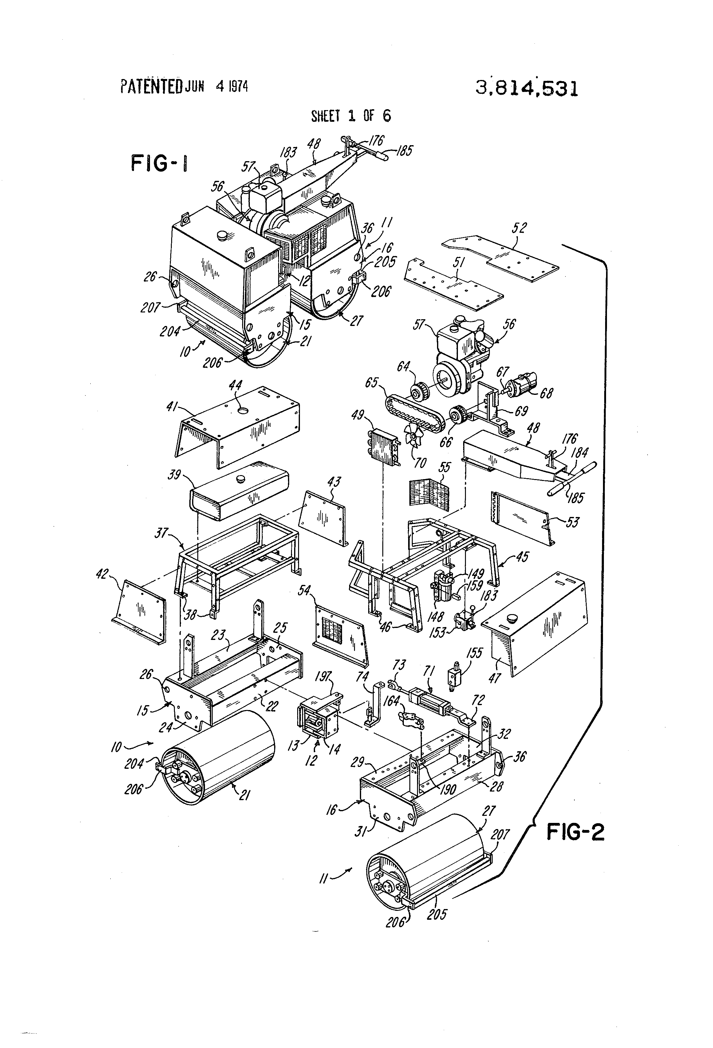 patent us3814531 - articulated roller assembly