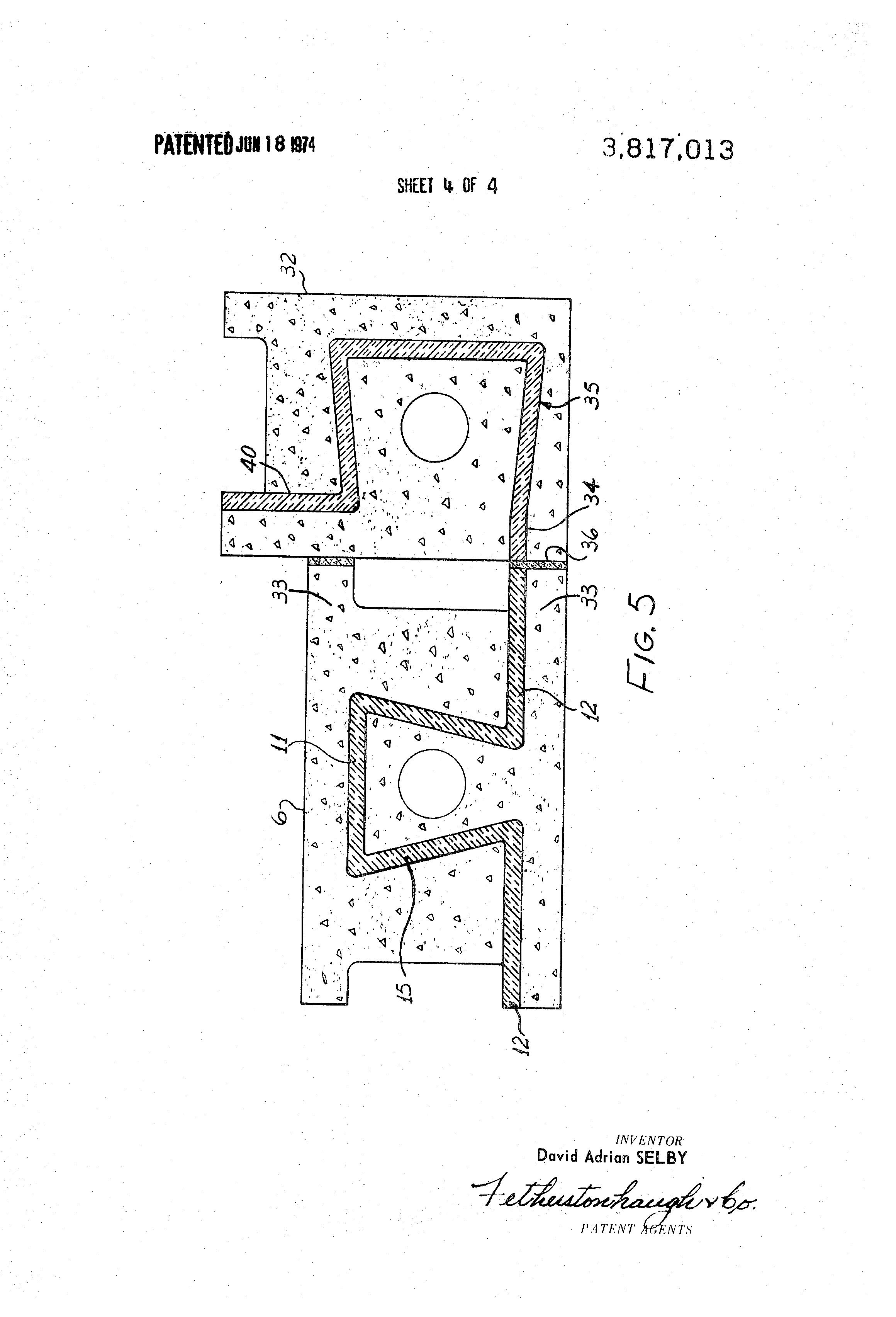 Patent us3817013 insulated concrete block google patenten for Insulated concrete masonry units