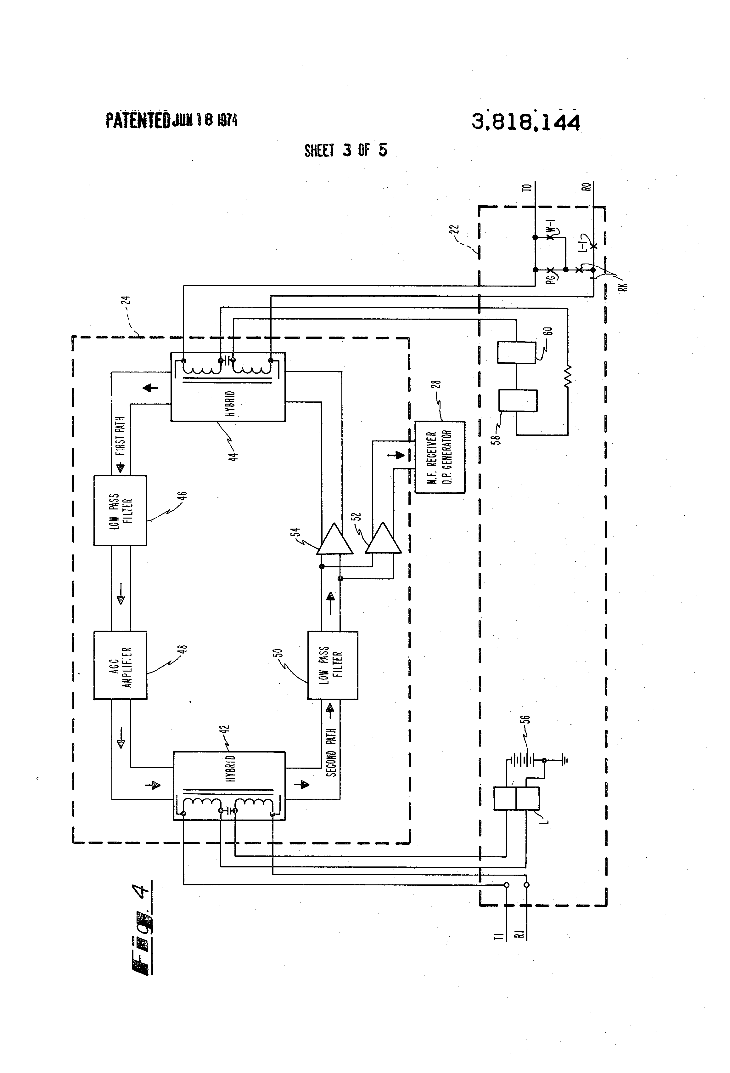 Patent Us3818144 Multifrequency To Dial Pulse Signal Converter Re A Hybrid 2 4 Wire Telephone Circuit Drawing