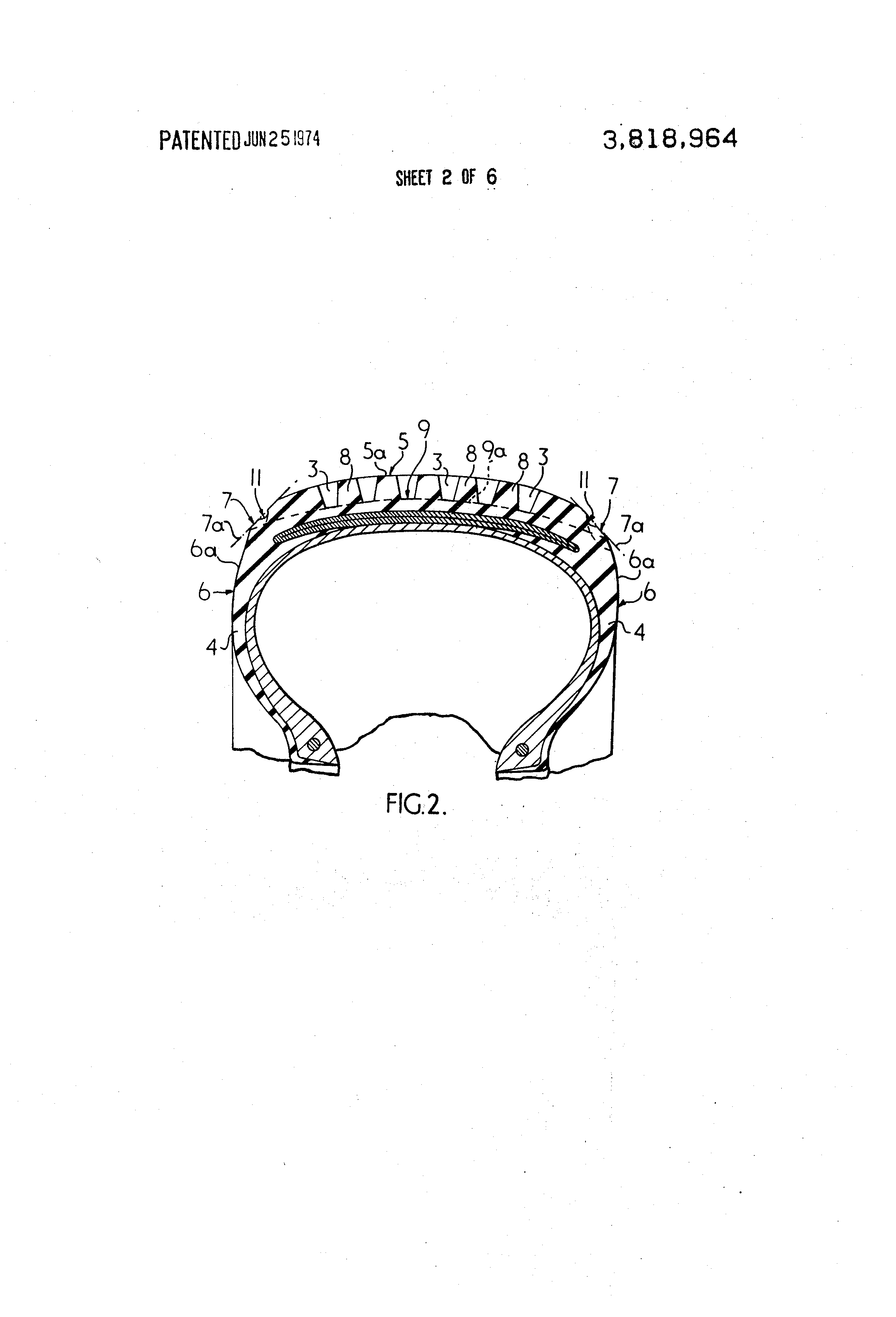 Patent Us3818964 Tread Profile Of A Radial Tire For Motor Vehicles How To Draw Volcano Diagram Page 2 Drawing